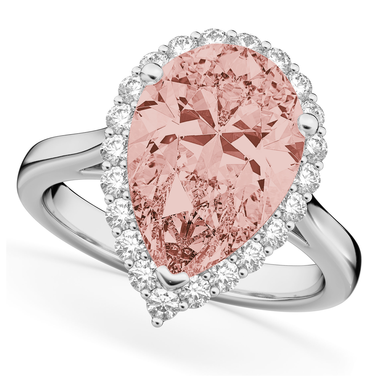 Pear Cut Halo Morganite & Diamond Engagement Ring 14K White Gold 4.74ct