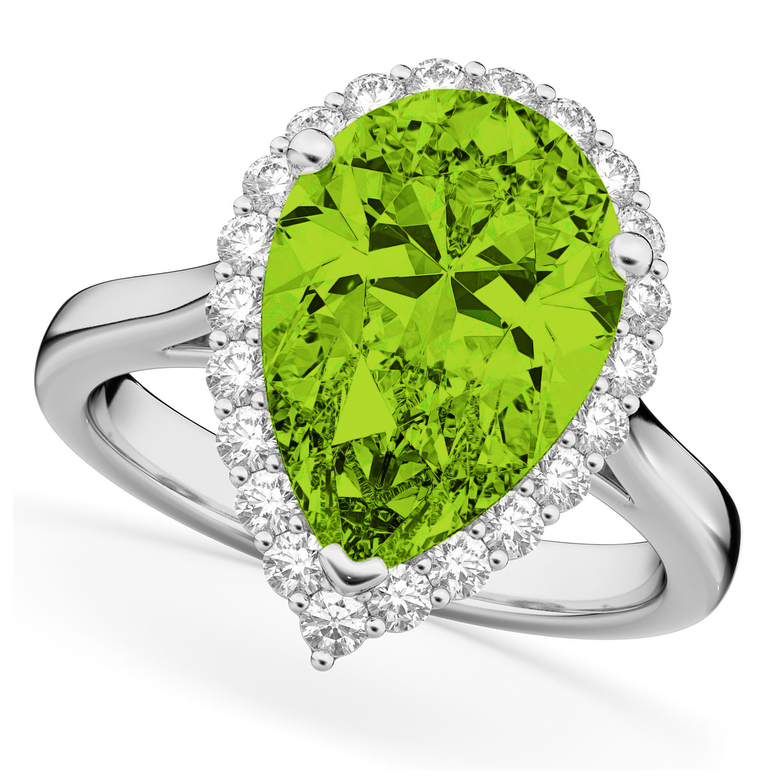 Pear Cut Halo Peridot & Diamond Engagement Ring 14K White Gold 5.19ct