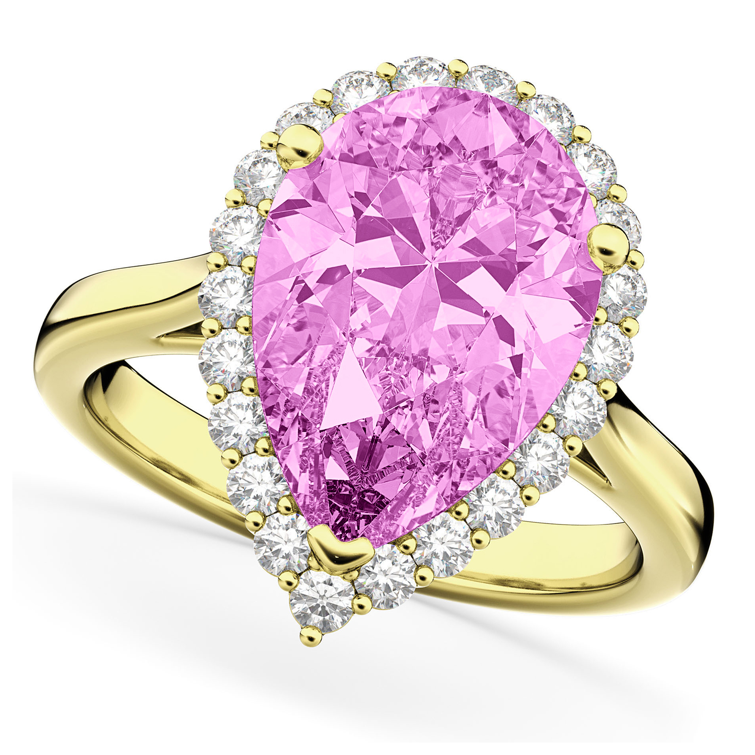 Pear Cut Halo Pink Sapphire & Diamond Engagement Ring 14K Yellow Gold 8.34ct