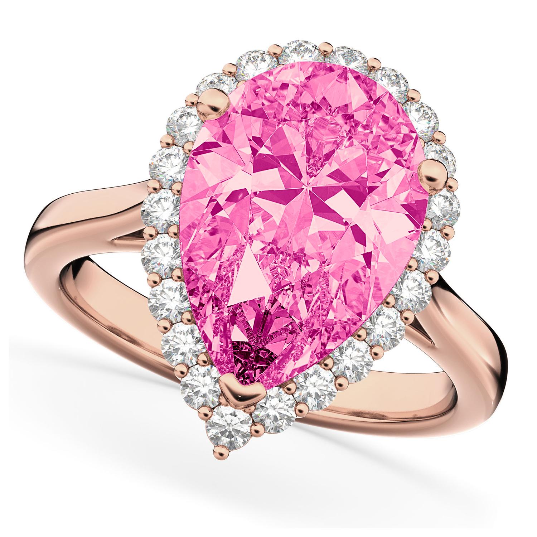 Pear Cut Halo Pink Tourmaline & Diamond Engagement Ring 14K Rose Gold 7.19ct