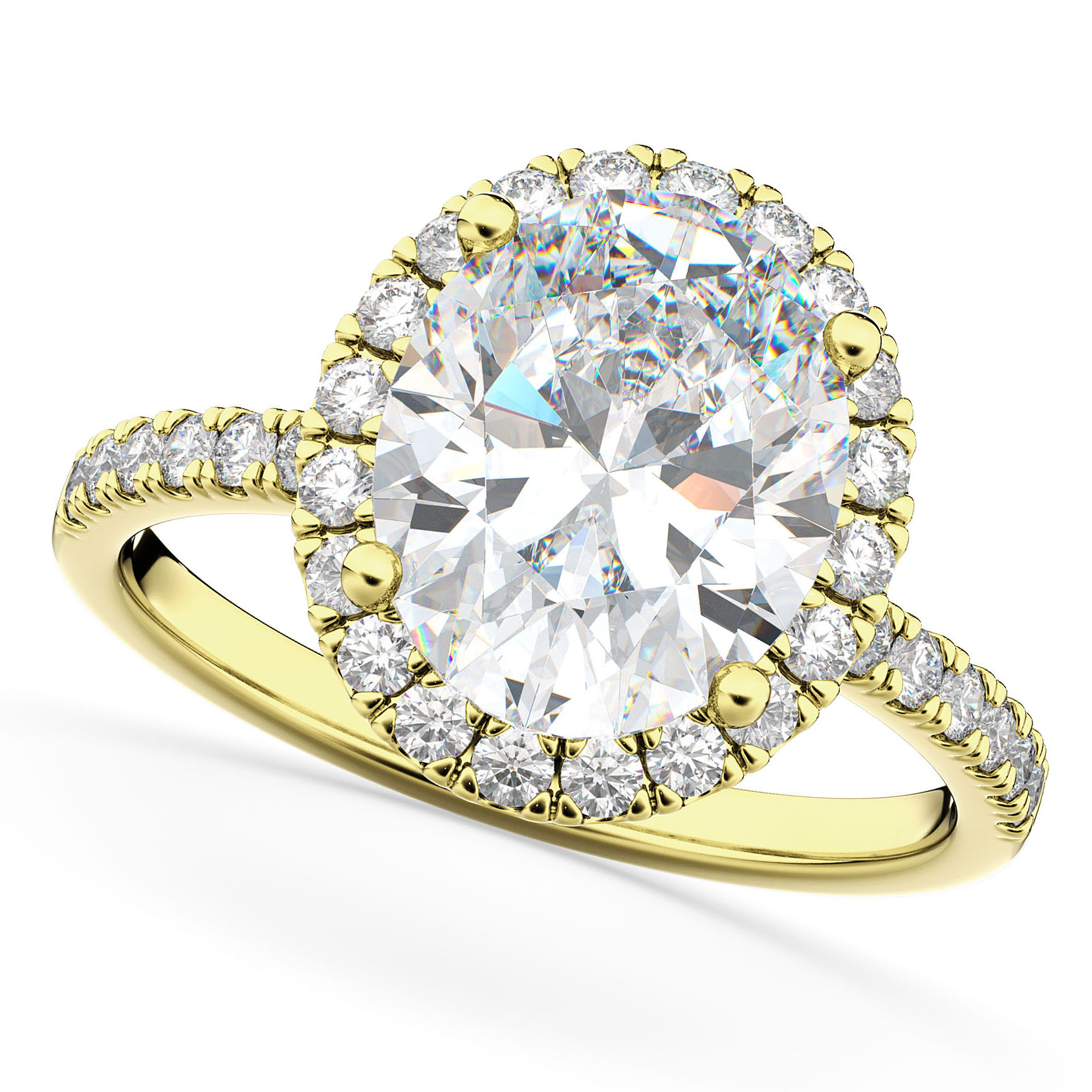 Oval Cut Halo Diamond Engagement Ring 14K Yellow Gold (3.51ct)
