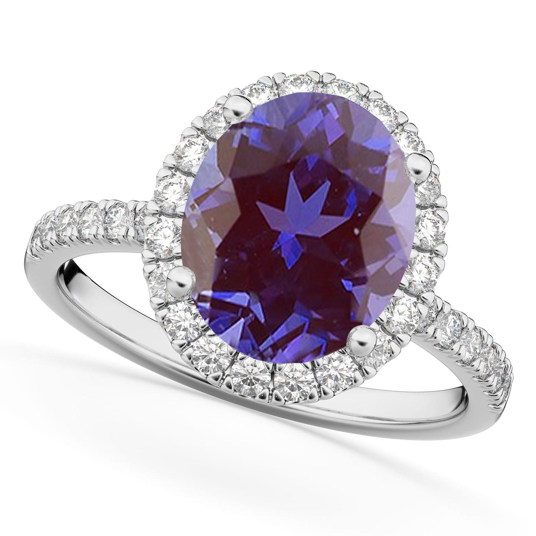 Oval Cut Halo Lab Alexandrite & Diamond Engagement Ring 14K White Gold 2.91ct