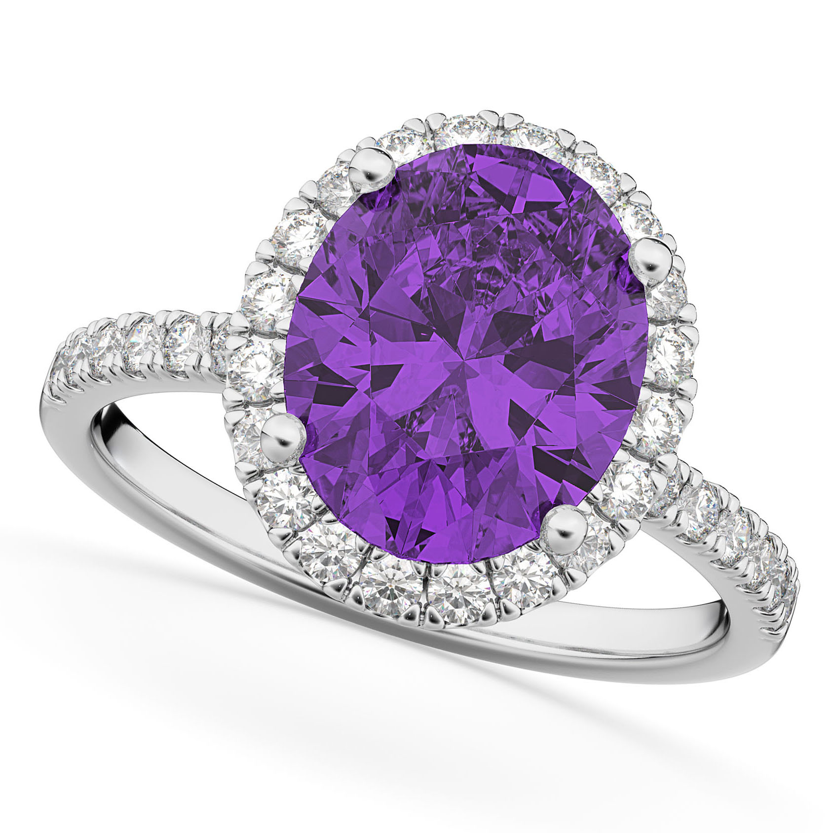 Oval Cut Halo Amethyst & Diamond Engagement Ring 14K White Gold 2.91ct