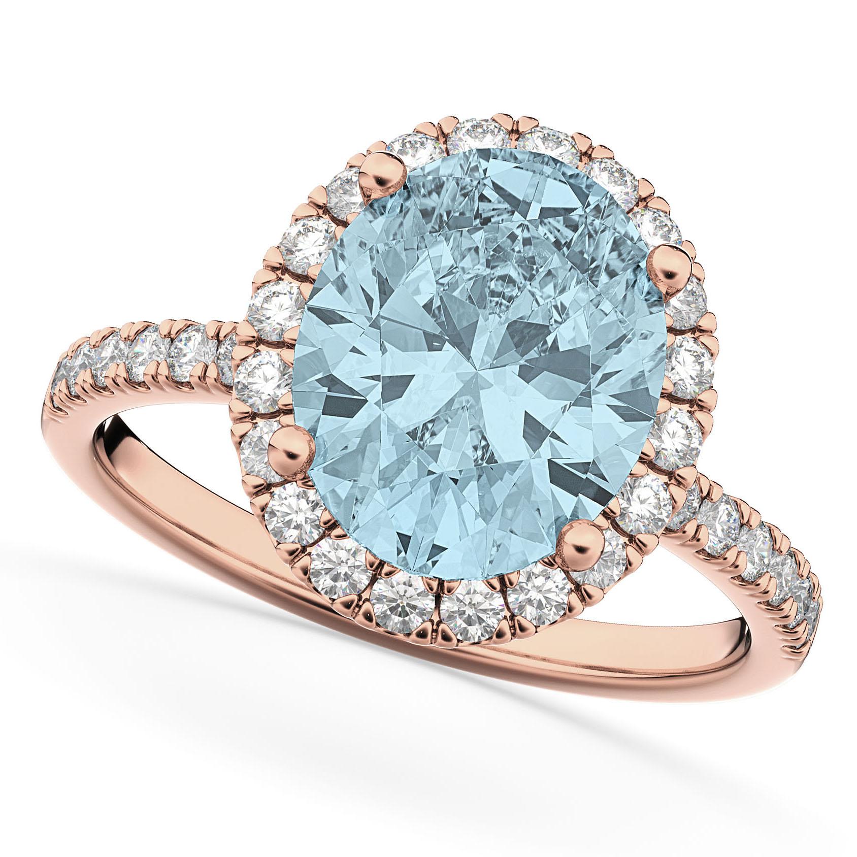 Oval Cut Halo Aquamarine & Diamond Engagement Ring 14K Rose Gold 2.76ct