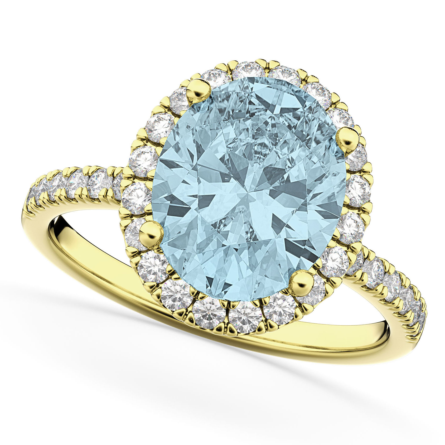 Oval Cut Halo Aquamarine & Diamond Engagement Ring 14K Yellow Gold 2.76ct