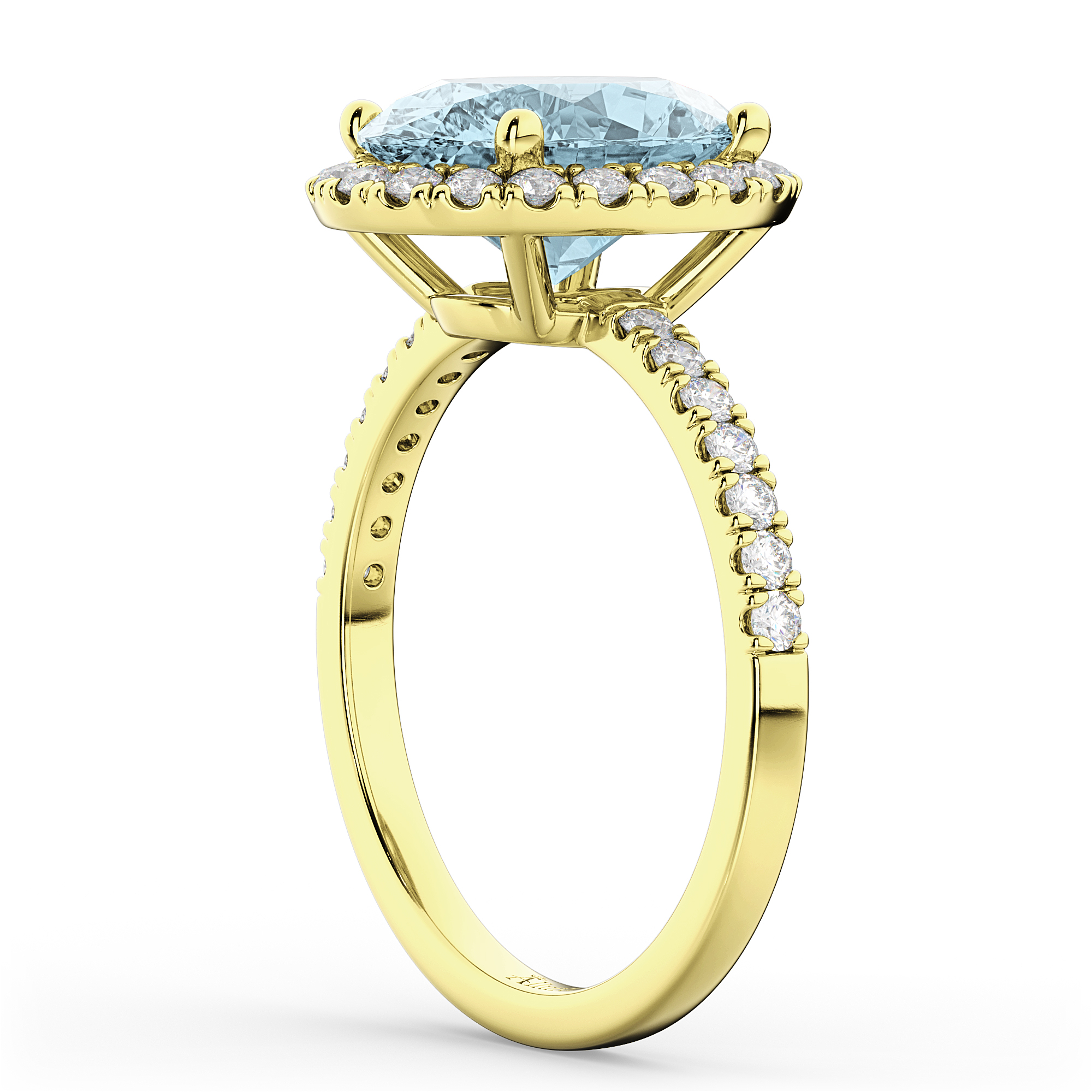 Oval Cut Halo Aquamarine & Diamond Engagement Ring 14K
