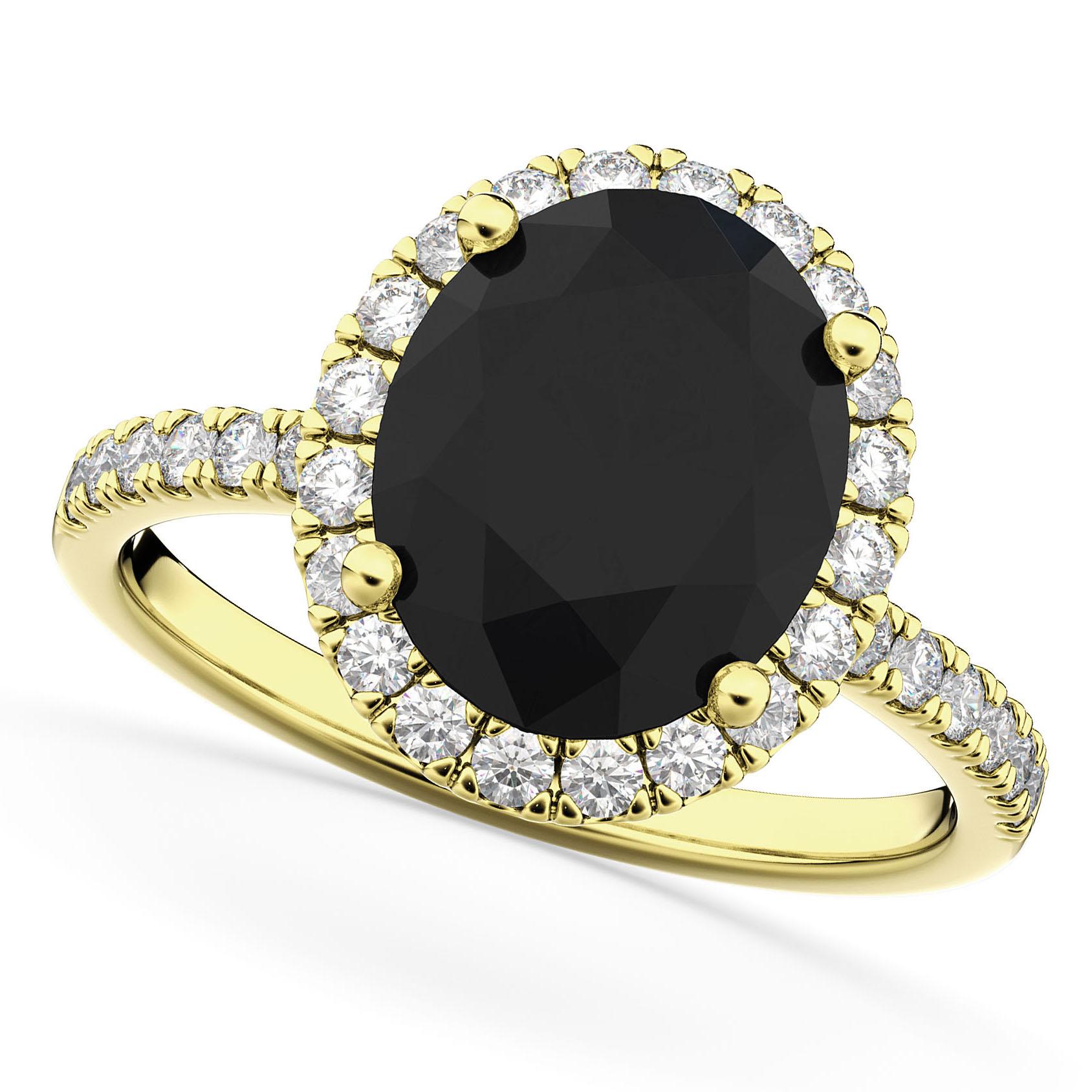 Oval Black Diamond & Diamond Engagement Ring 14K Yellow Gold 3.51ct
