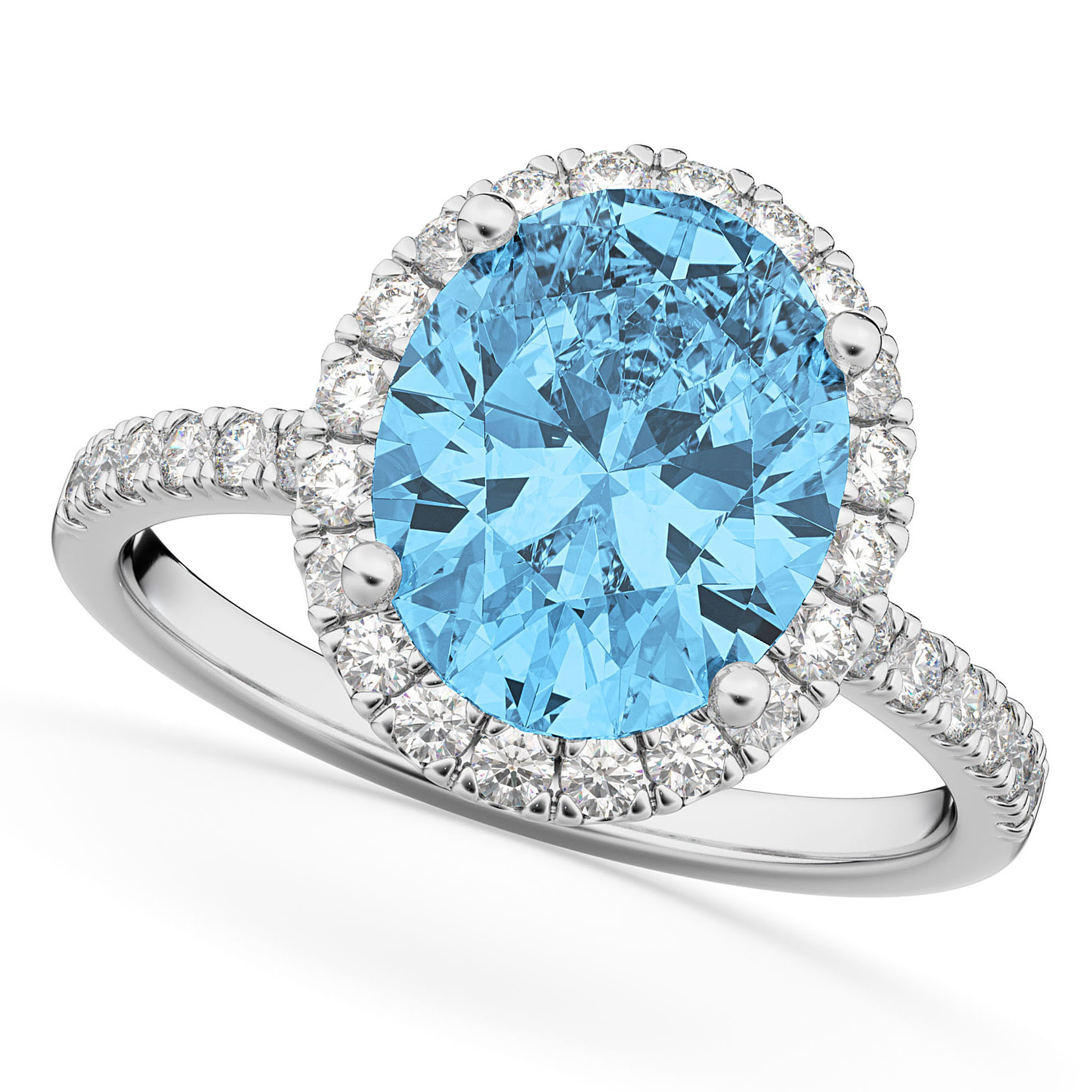Oval Cut Halo Blue Topaz & Diamond Engagement Ring 14K White Gold 4.01ct
