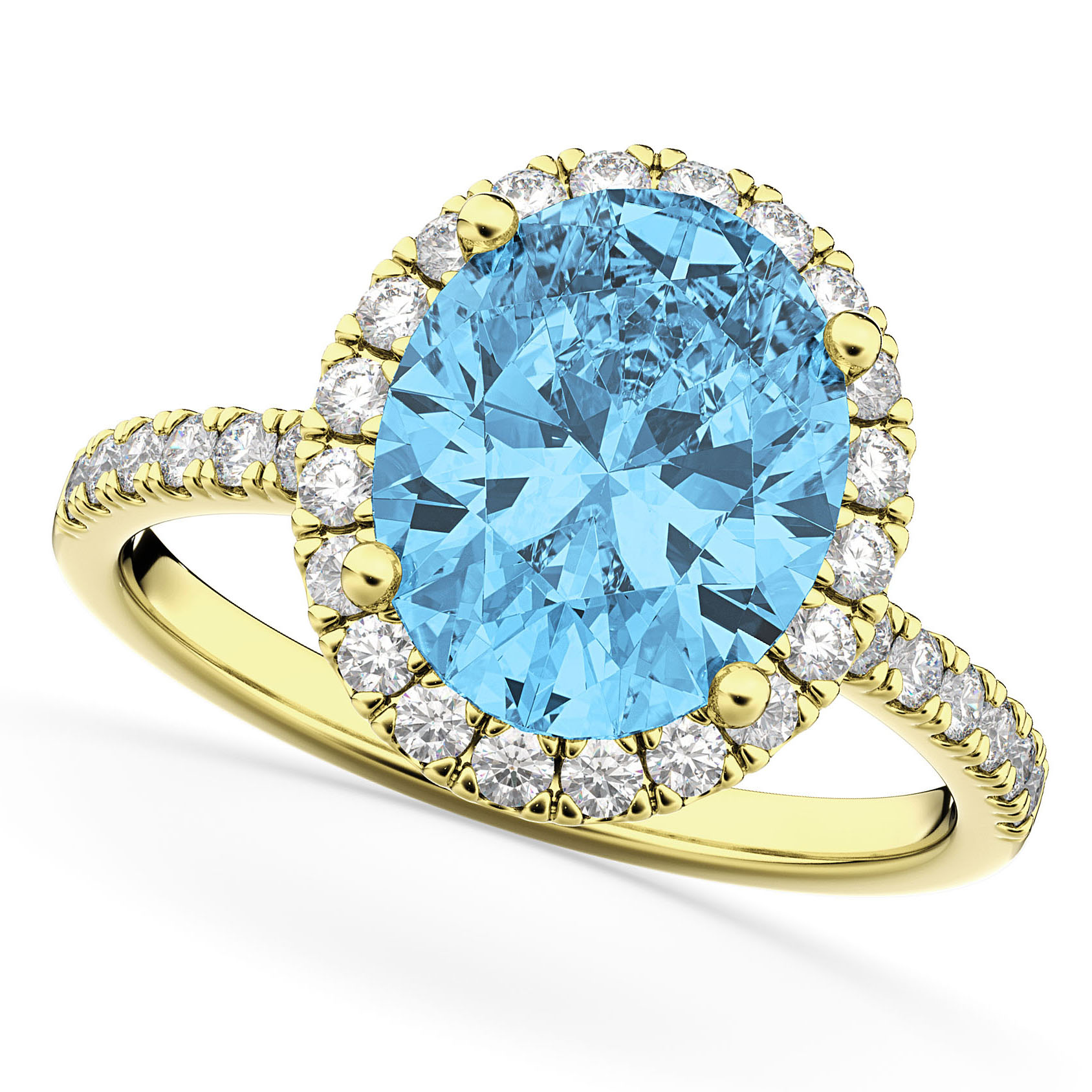 Oval Cut Halo Blue Topaz & Diamond Engagement Ring 14K Yellow Gold 4.01ct