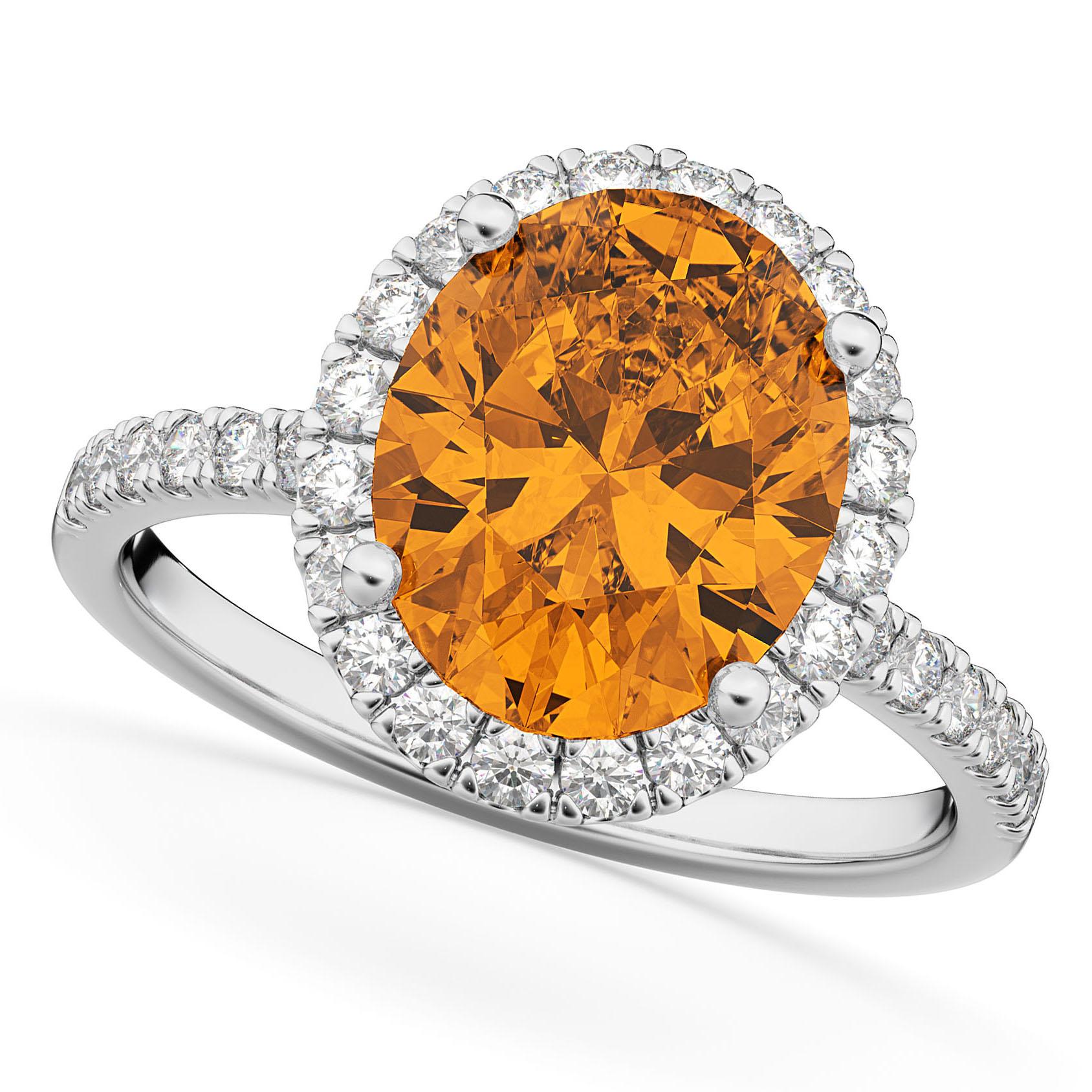 Oval Cut Halo Citrine & Diamond Engagement Ring 14K White Gold 2.91ct