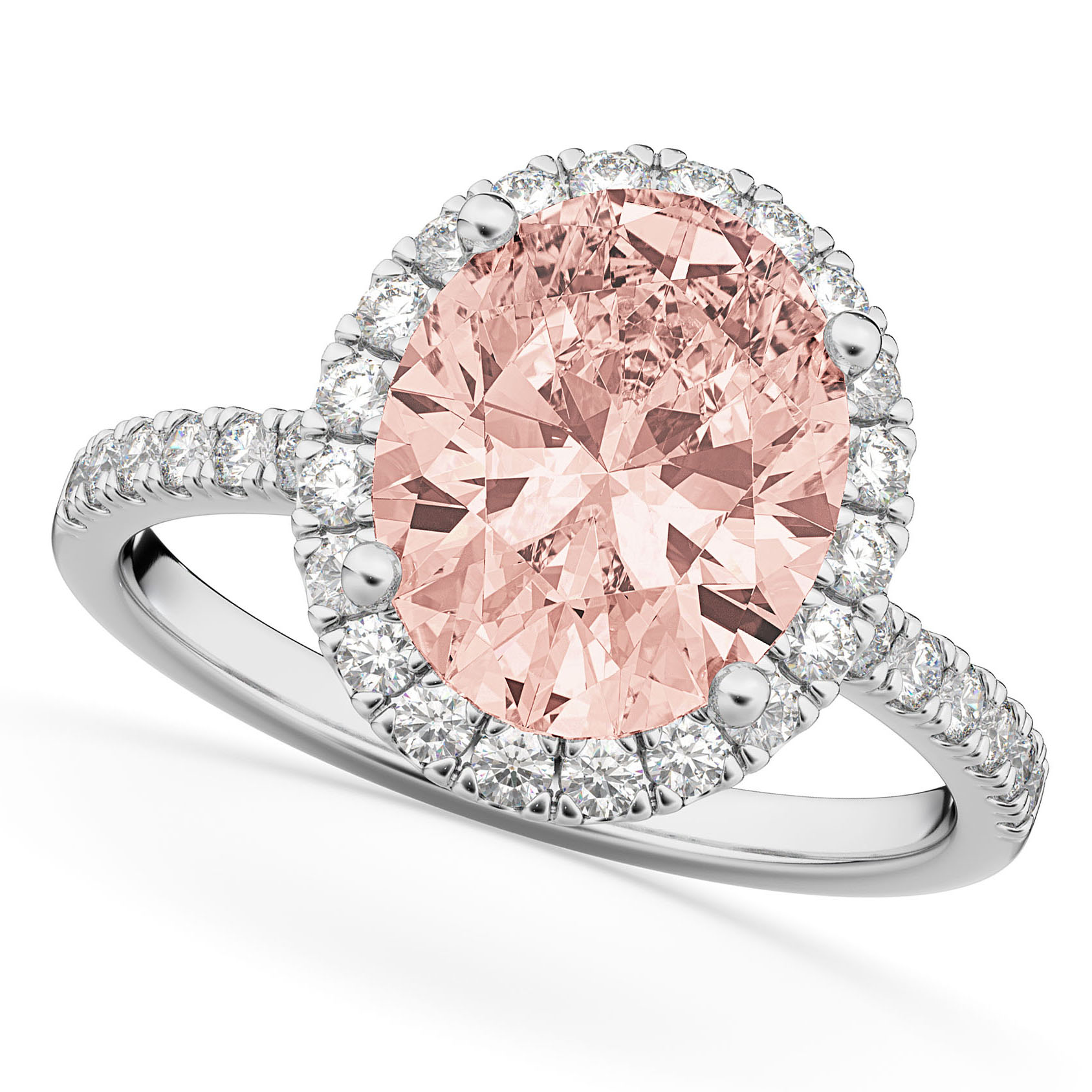 Oval Cut Halo Morganite & Diamond Engagement Ring 14K White Gold 2.81ct