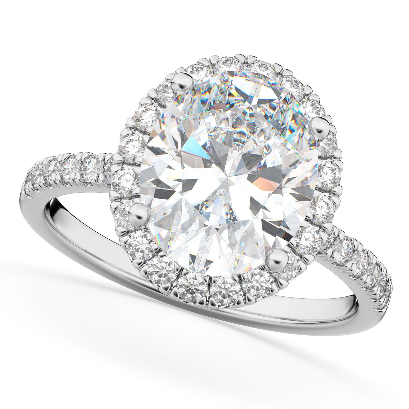 Oval Cut Halo Moissanite & Diamond Engagement Ring 14K White Gold 2.72ct