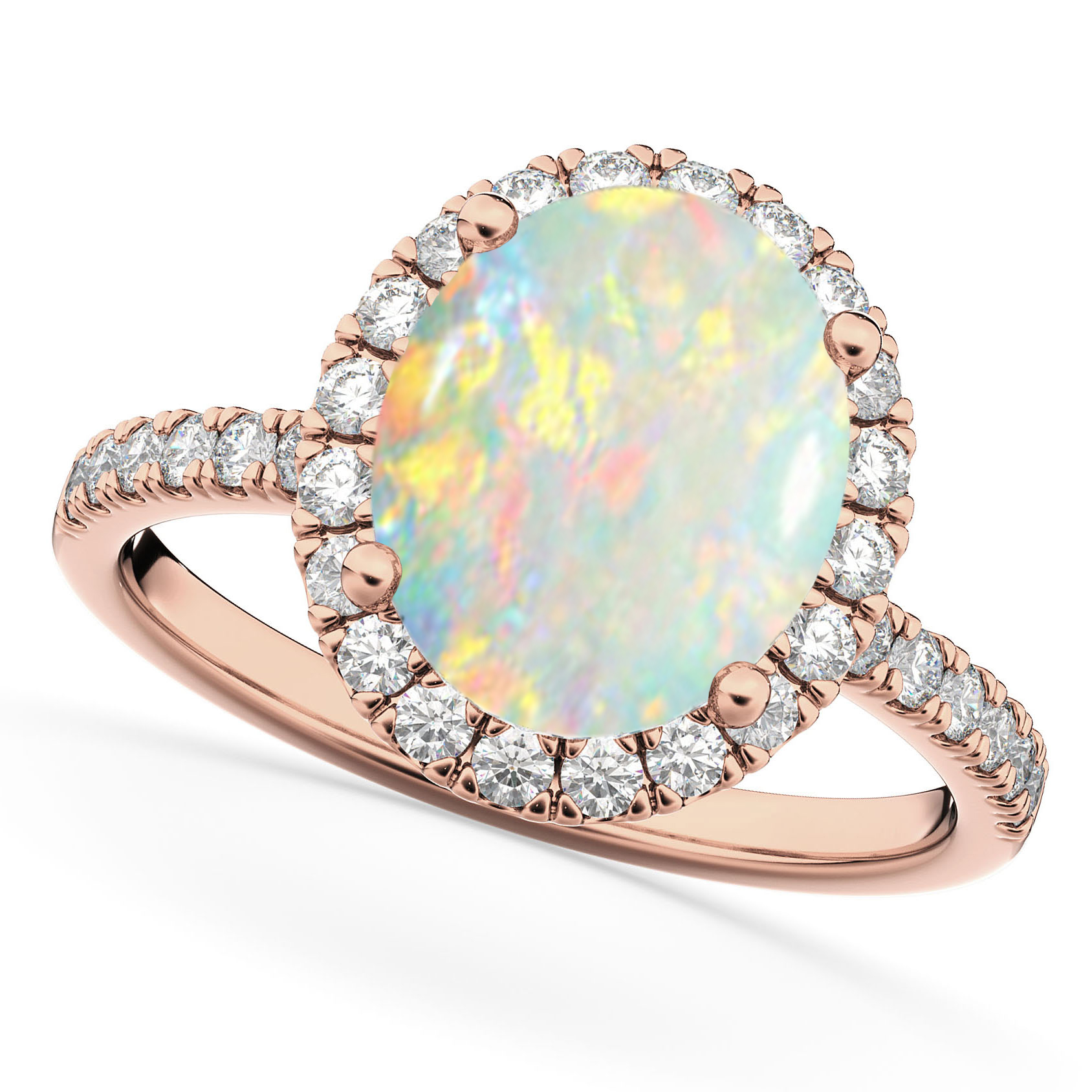 Cut Halo Opal & Diamond Engagement Ring 14K Rose Gold 2 16ct