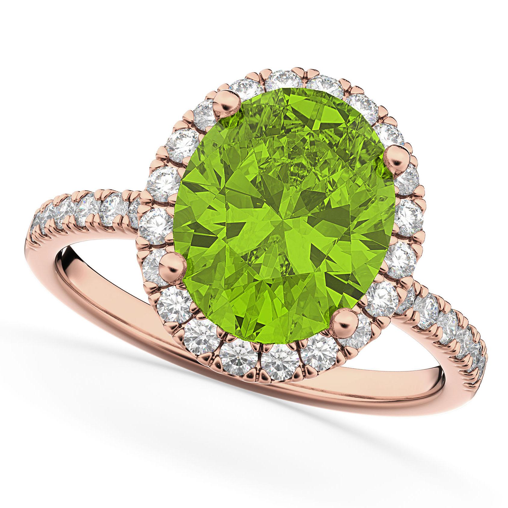 Oval Cut Halo Peridot & Diamond Engagement Ring 14K Rose