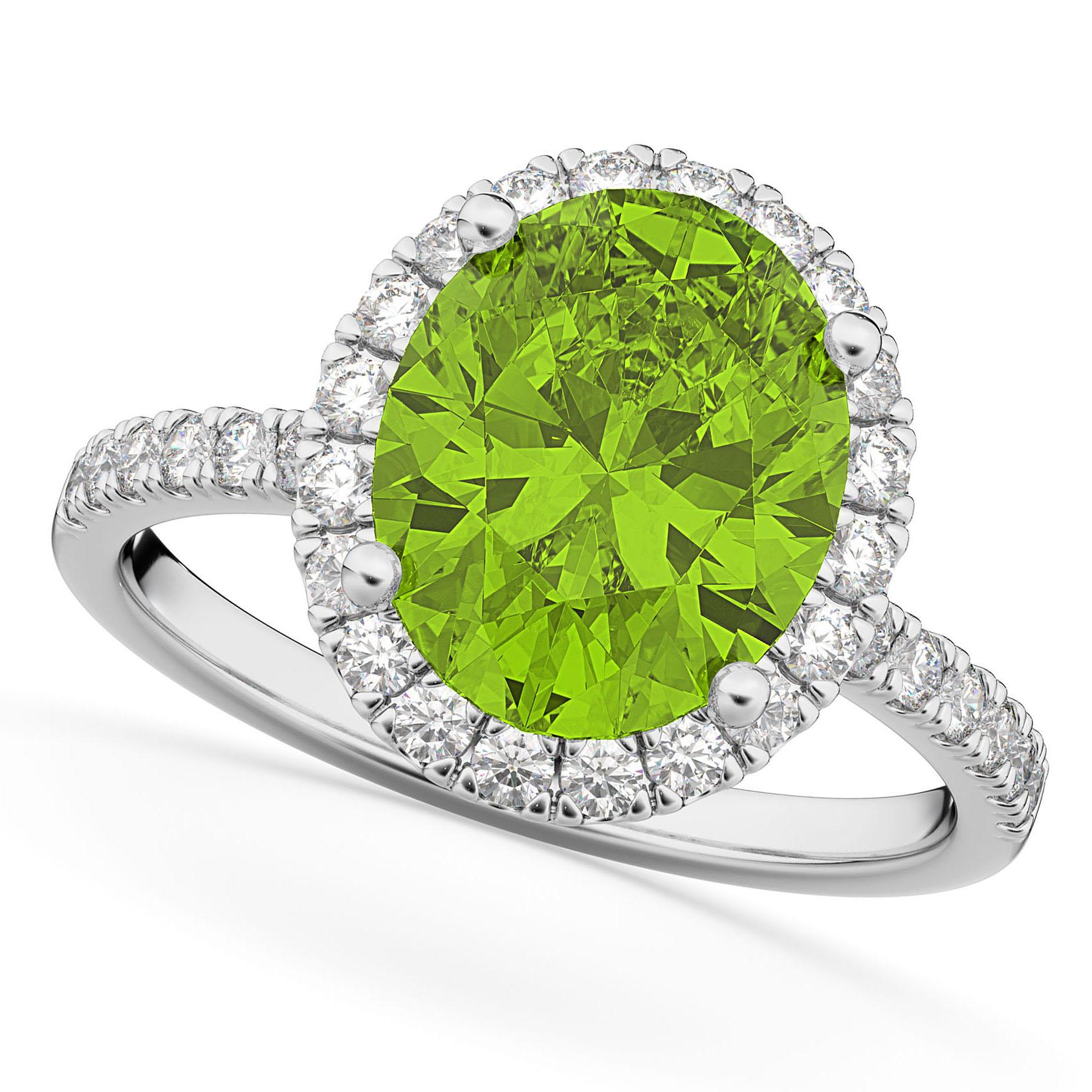 Oval Cut Halo Peridot & Diamond Engagement Ring 14K White Gold 3.01ct