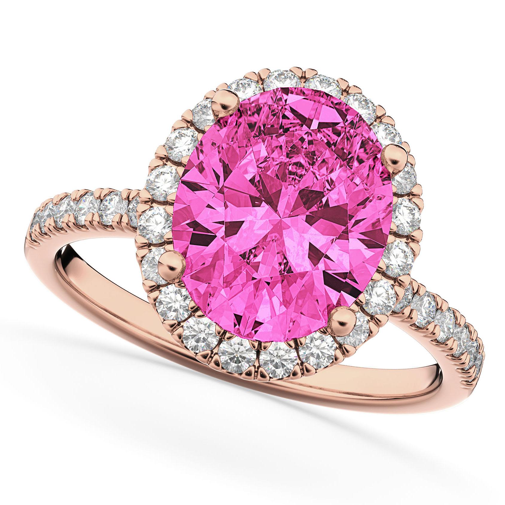 Oval Cut Halo Pink Tourmaline & Diamond Engagement Ring 14K Rose Gold 3.41ct