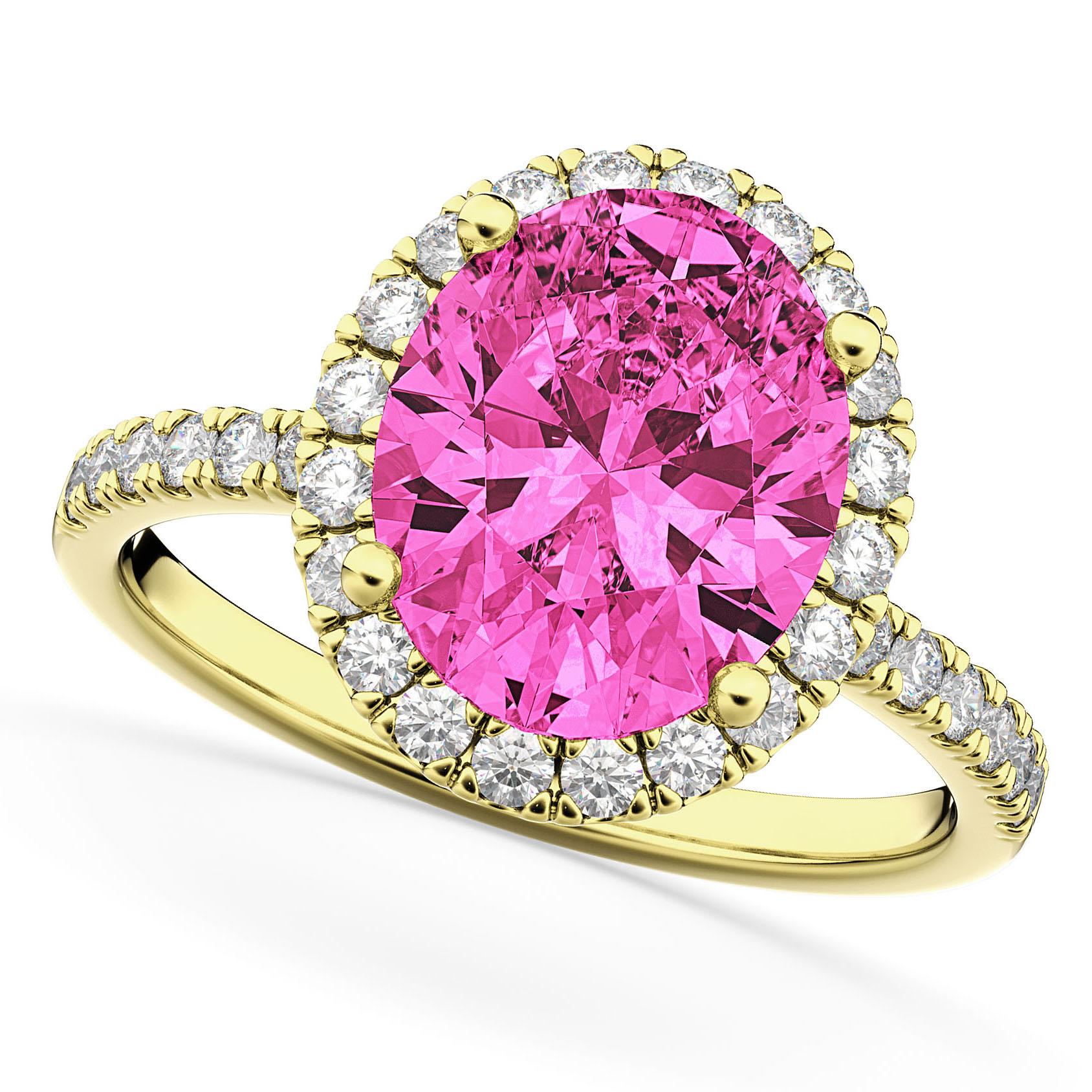 Oval Cut Halo Pink Tourmaline & Diamond Engagement Ring 14K Yellow Gold 3.41ct