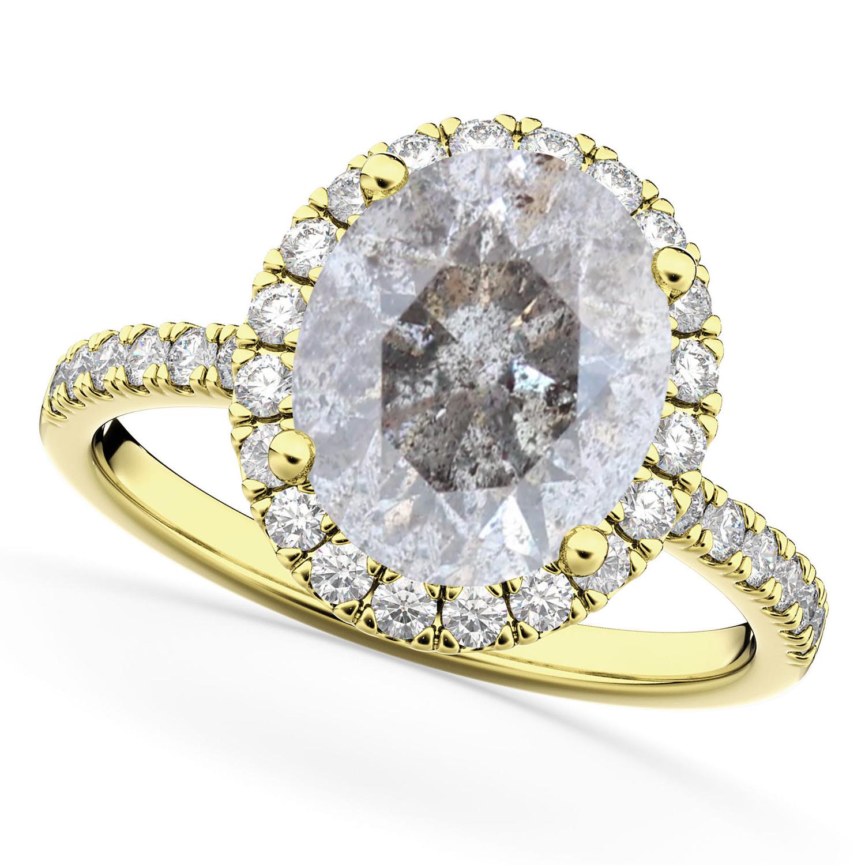 Oval Salt & Pepper Diamond & Diamond Engagement Ring 14K Yellow Gold 3.51ct