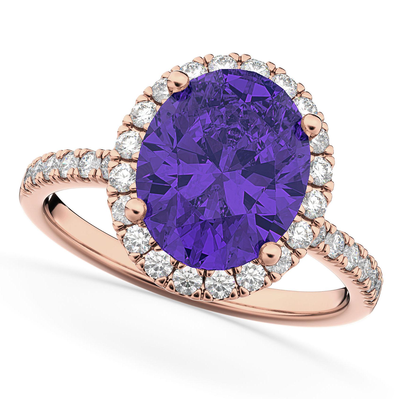 Oval Cut Halo Tanzanite & Diamond Engagement Ring 14K Rose Gold 3.66ct