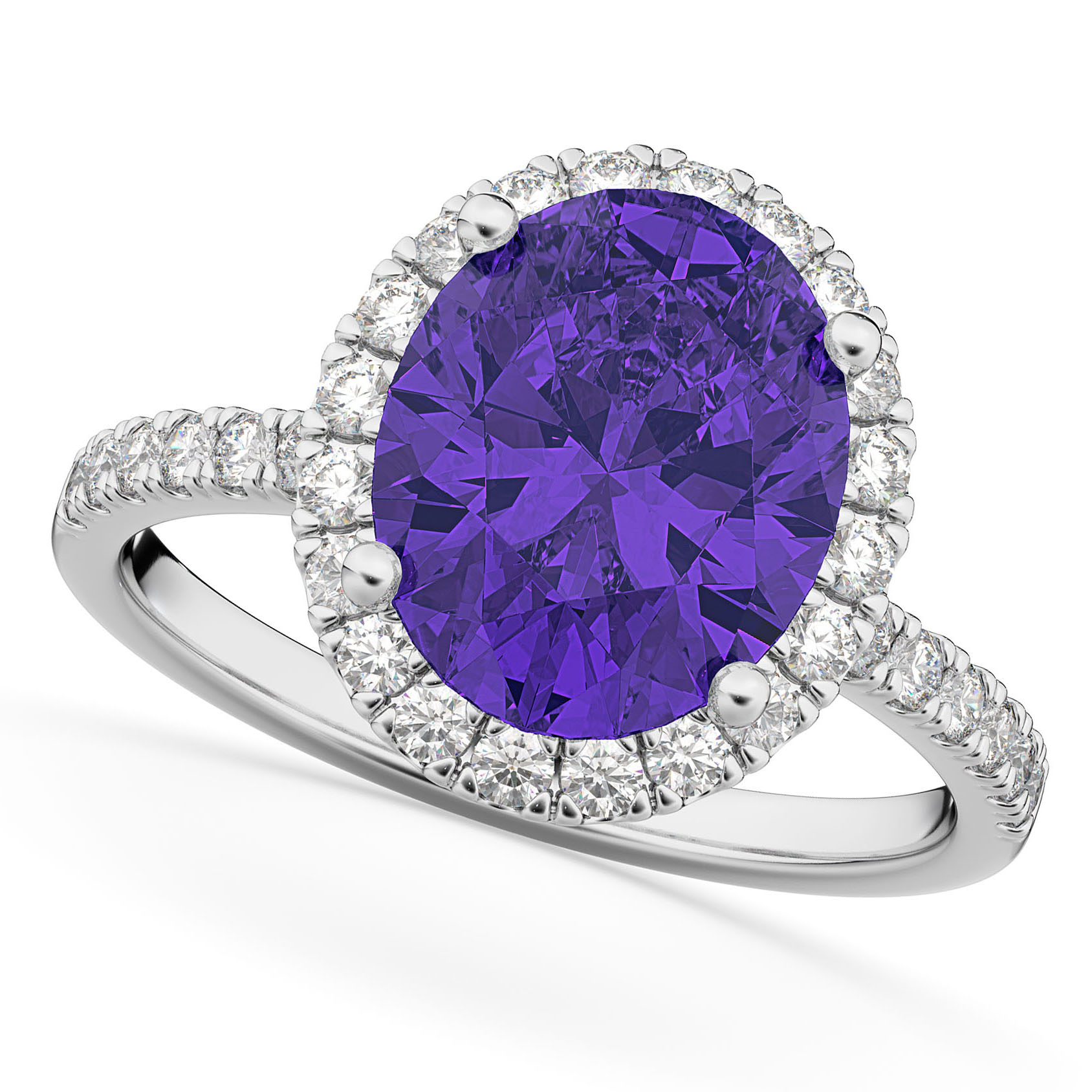 Oval Cut Halo Tanzanite & Diamond Engagement Ring 14K White Gold 3.66ct