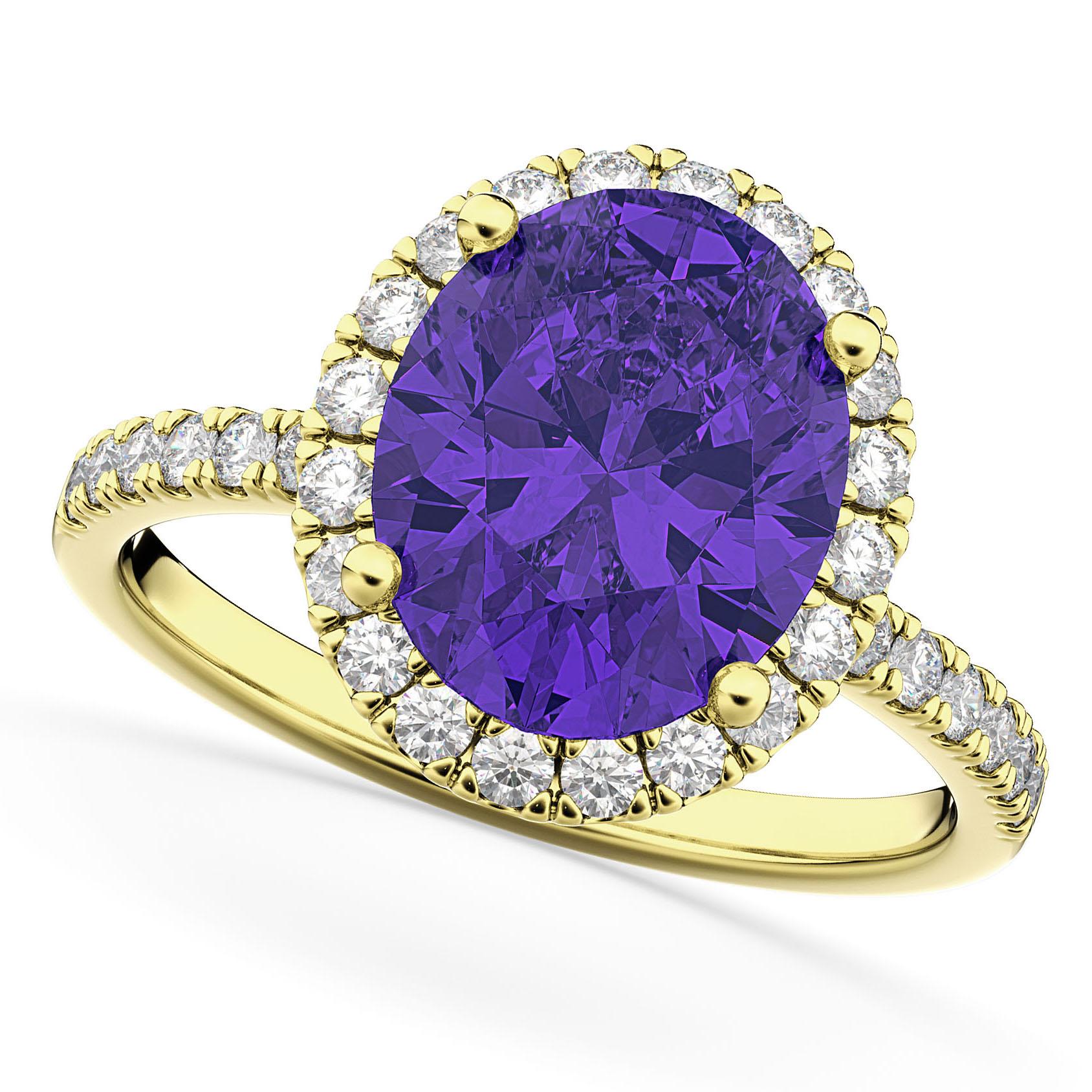 Oval Cut Halo Tanzanite & Diamond Engagement Ring 14K Yellow Gold 3.66ct