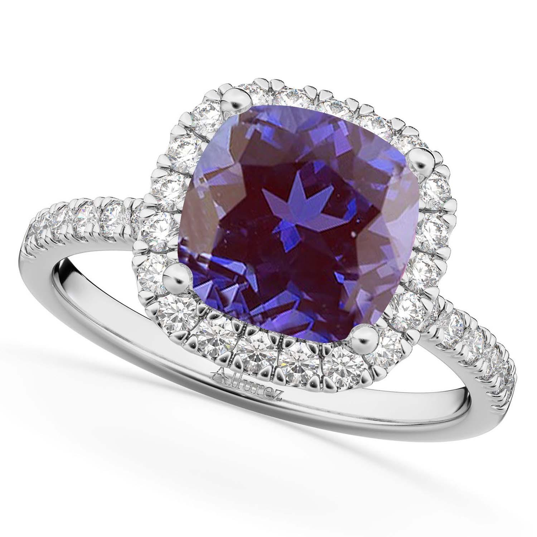 Cushion Cut Halo Lab Alexandrite & Diamond Engagement Ring 14k White Gold (3.11ct)