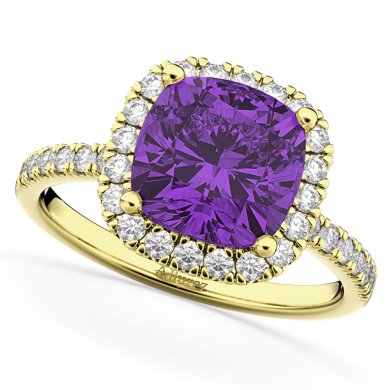 Cushion Cut Halo Amethyst & Diamond Engagement Ring 14k Yellow Gold (3.11ct)