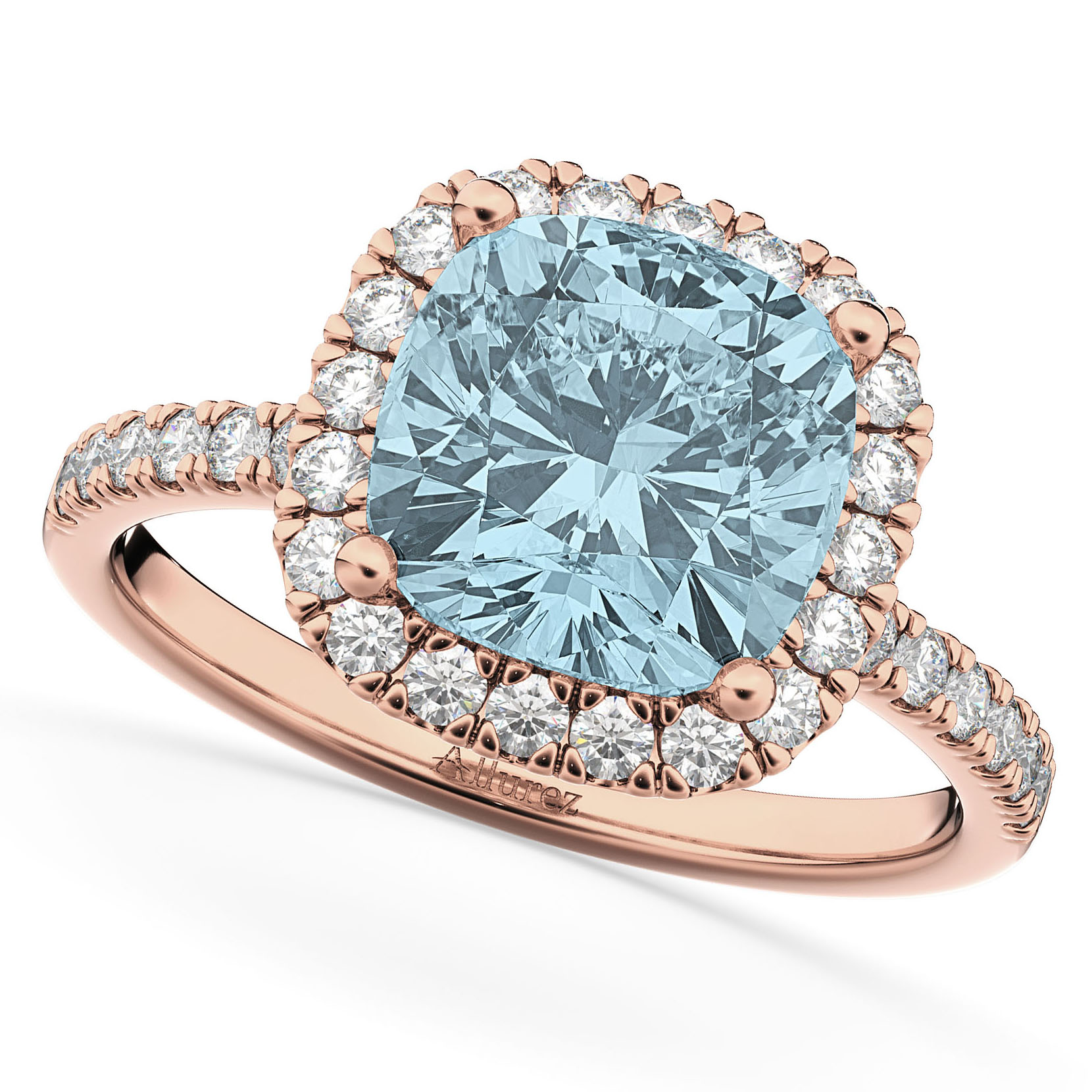 Cushion Cut Halo Aquamarine & Diamond Engagement Ring 14k Rose Gold (3.11ct)