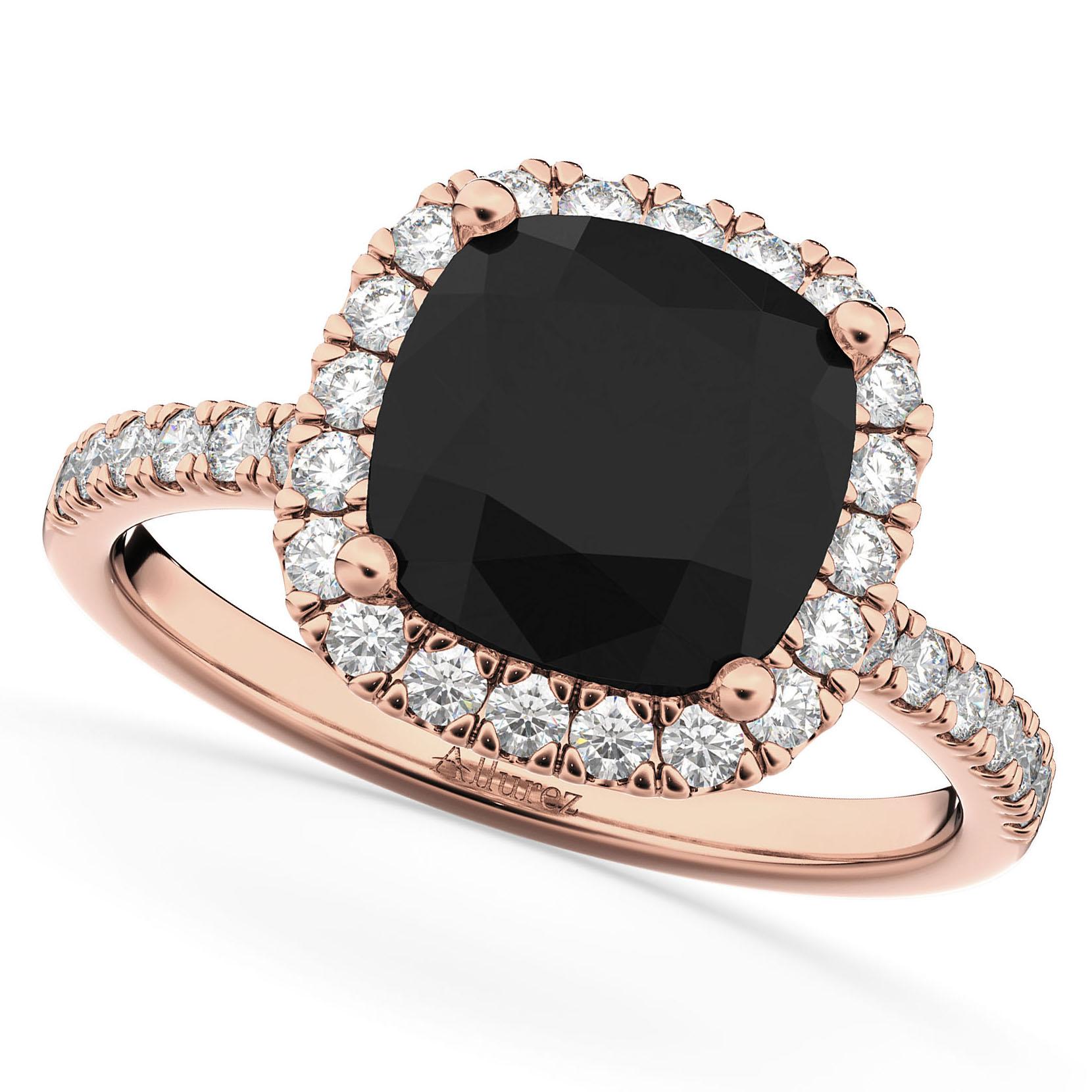 Cut Halo Black Diamond & Diamond Engagement Ring 14k Rose Gold 2 55ct
