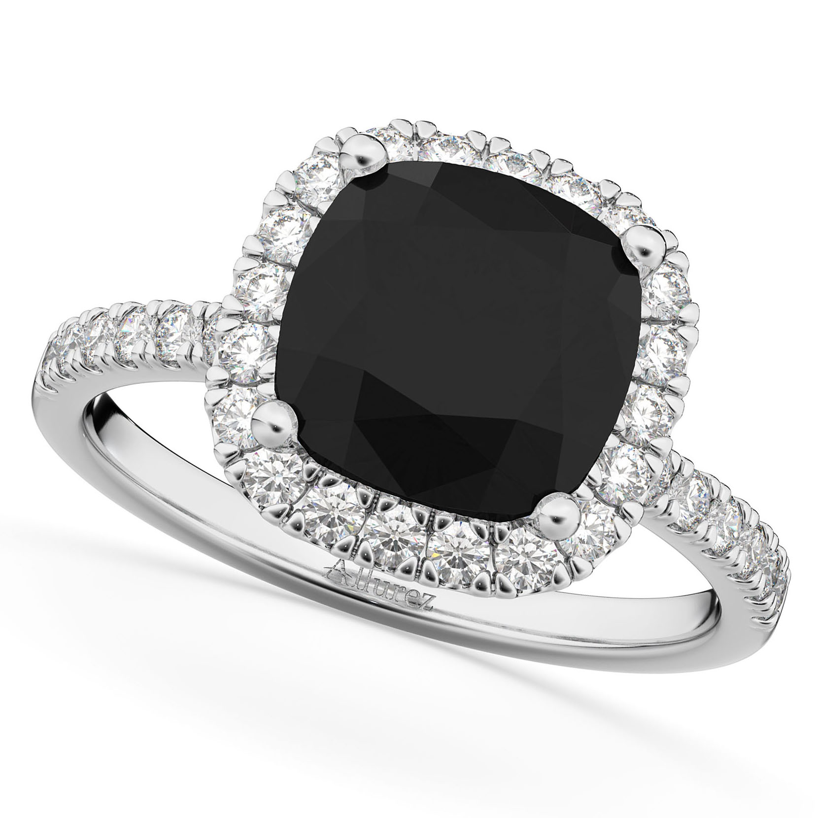 Cushion Cut Black Diamond Engagement Ring 14k White Gold (2.55ct)