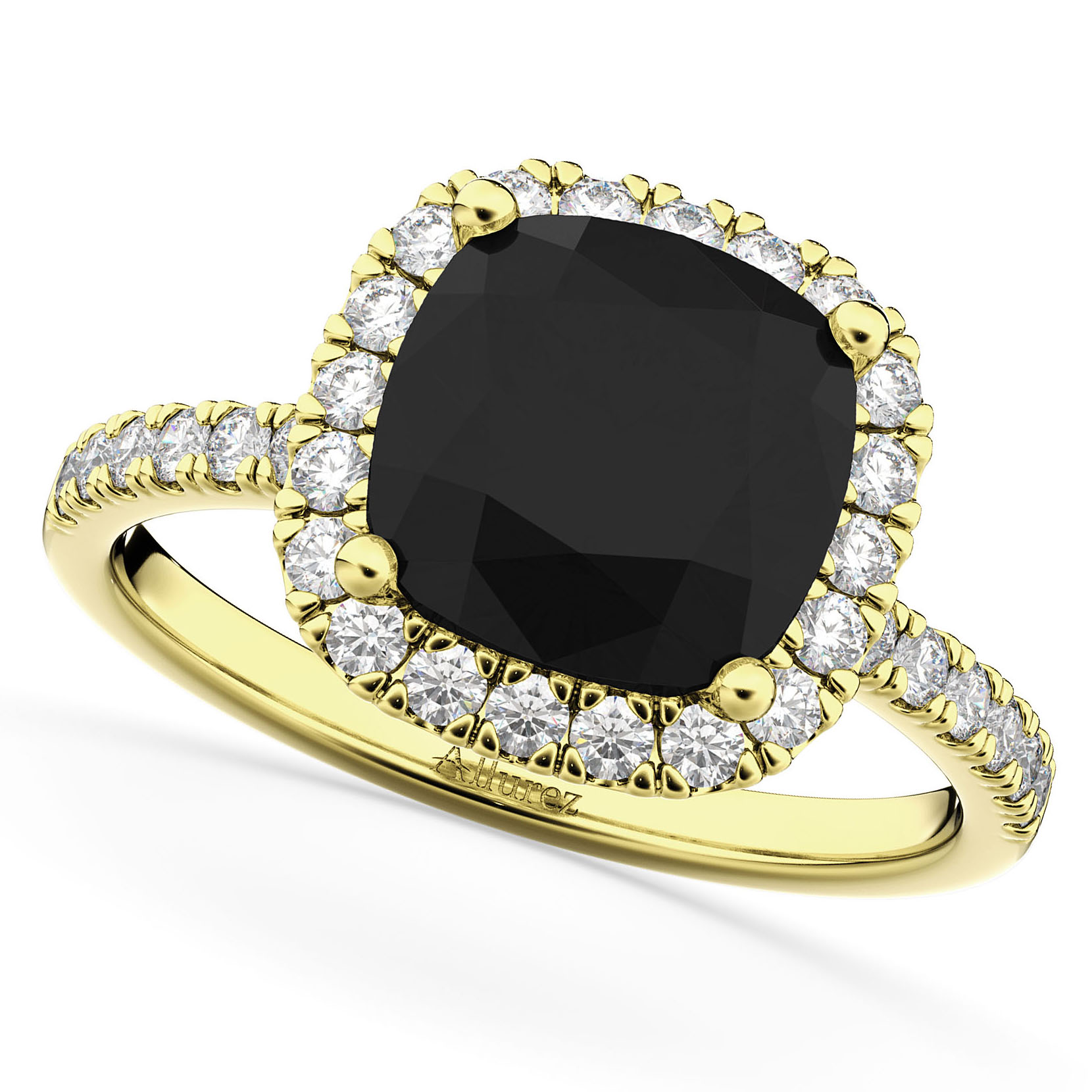cushion cut black engagement ring 14k yellow gold