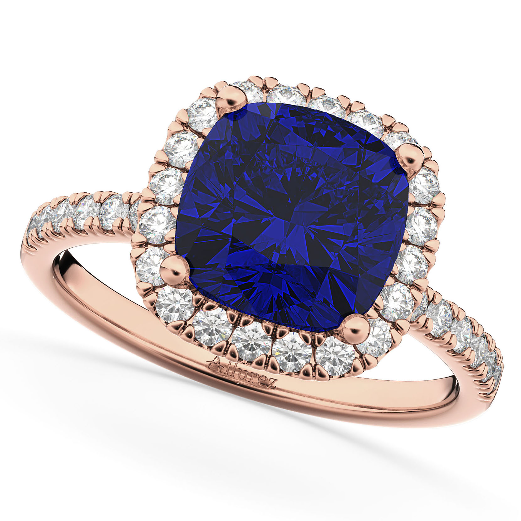 Cushion Cut Halo Blue Sapphire & Diamond Engagement Ring 14k Rose Gold (3.11ct)