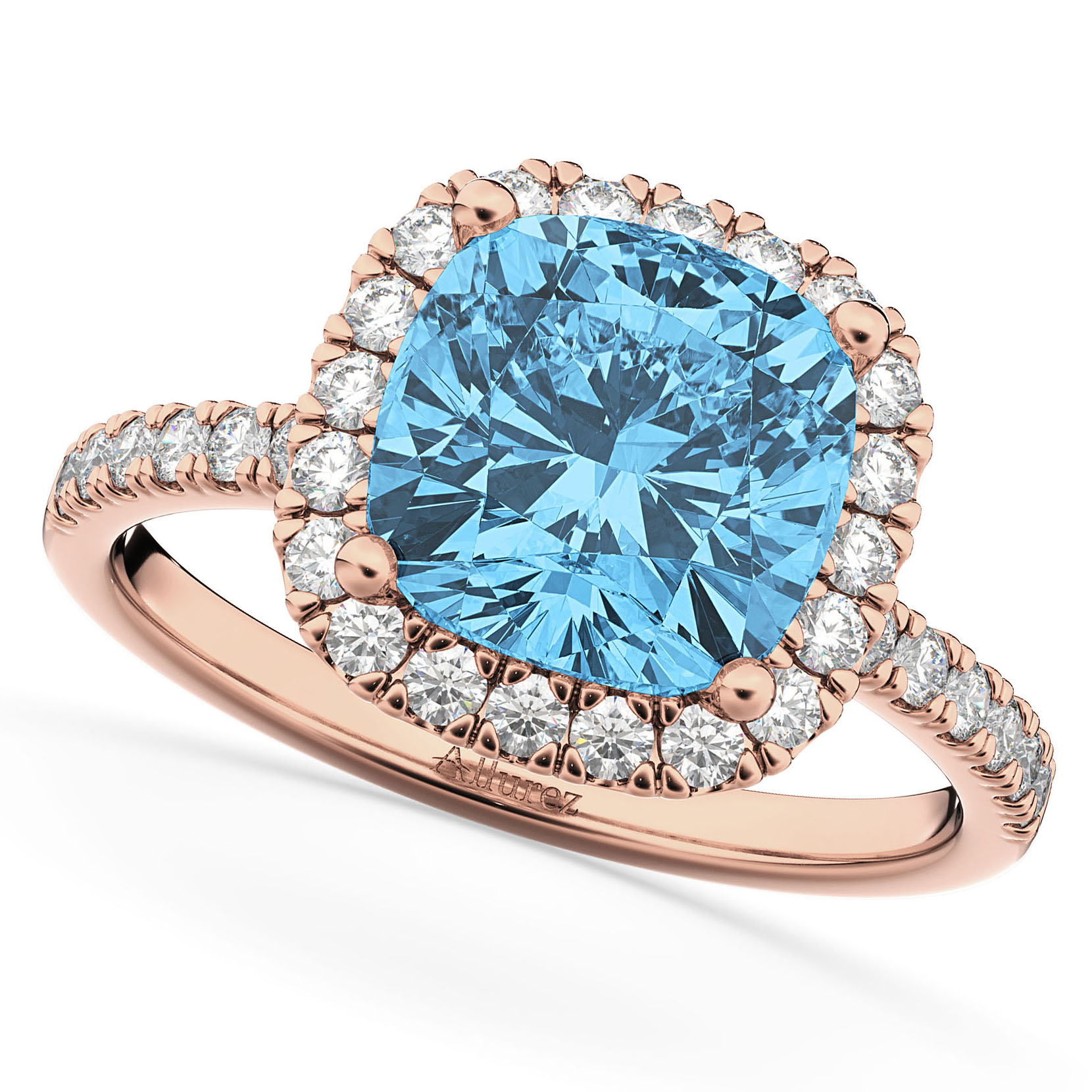 Cushion Cut Halo Blue Topaz & Diamond Engagement Ring 14k Rose Gold (3.11ct)