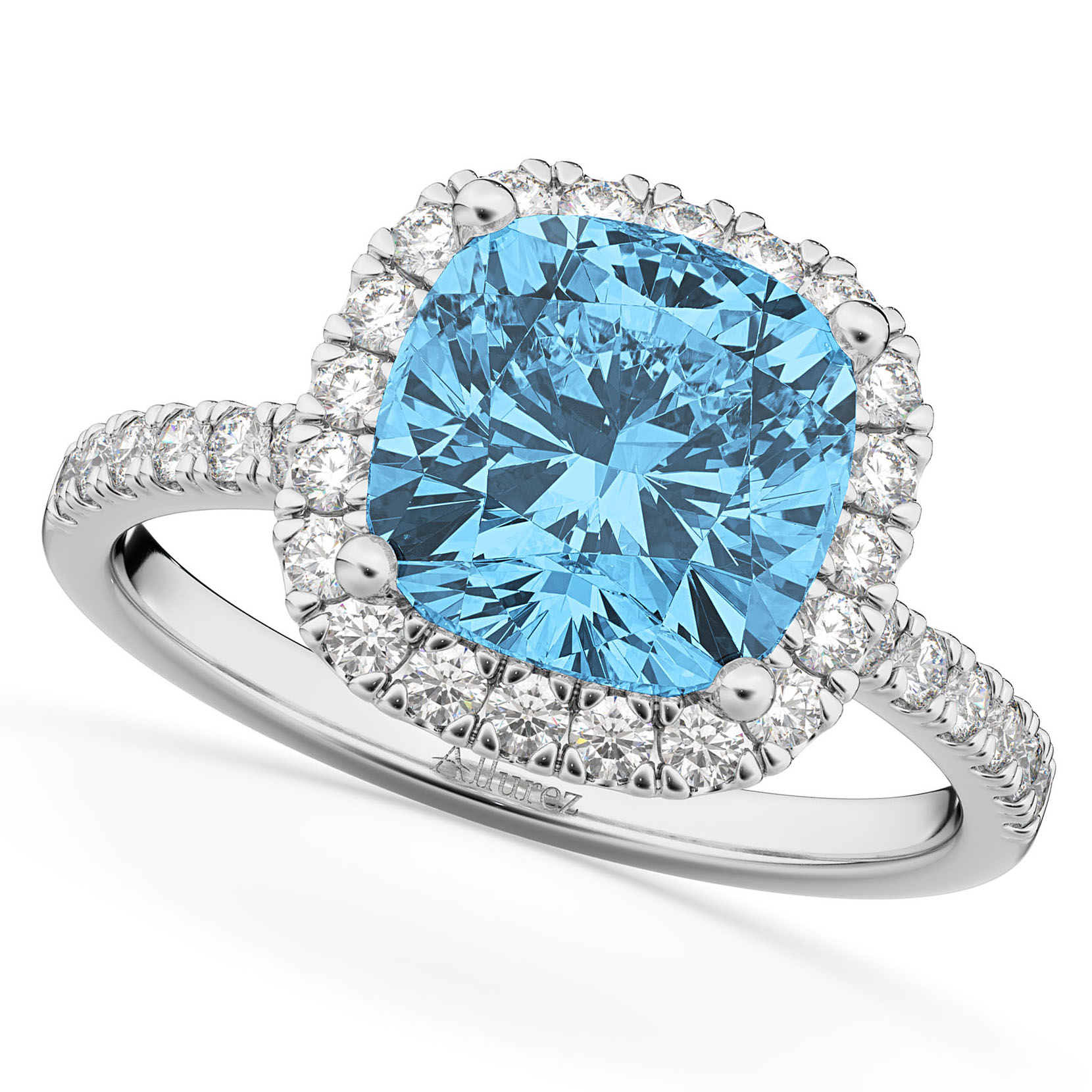 Cushion Cut Halo Blue Topaz & Diamond Engagement Ring 14k White Gold (3.11ct)