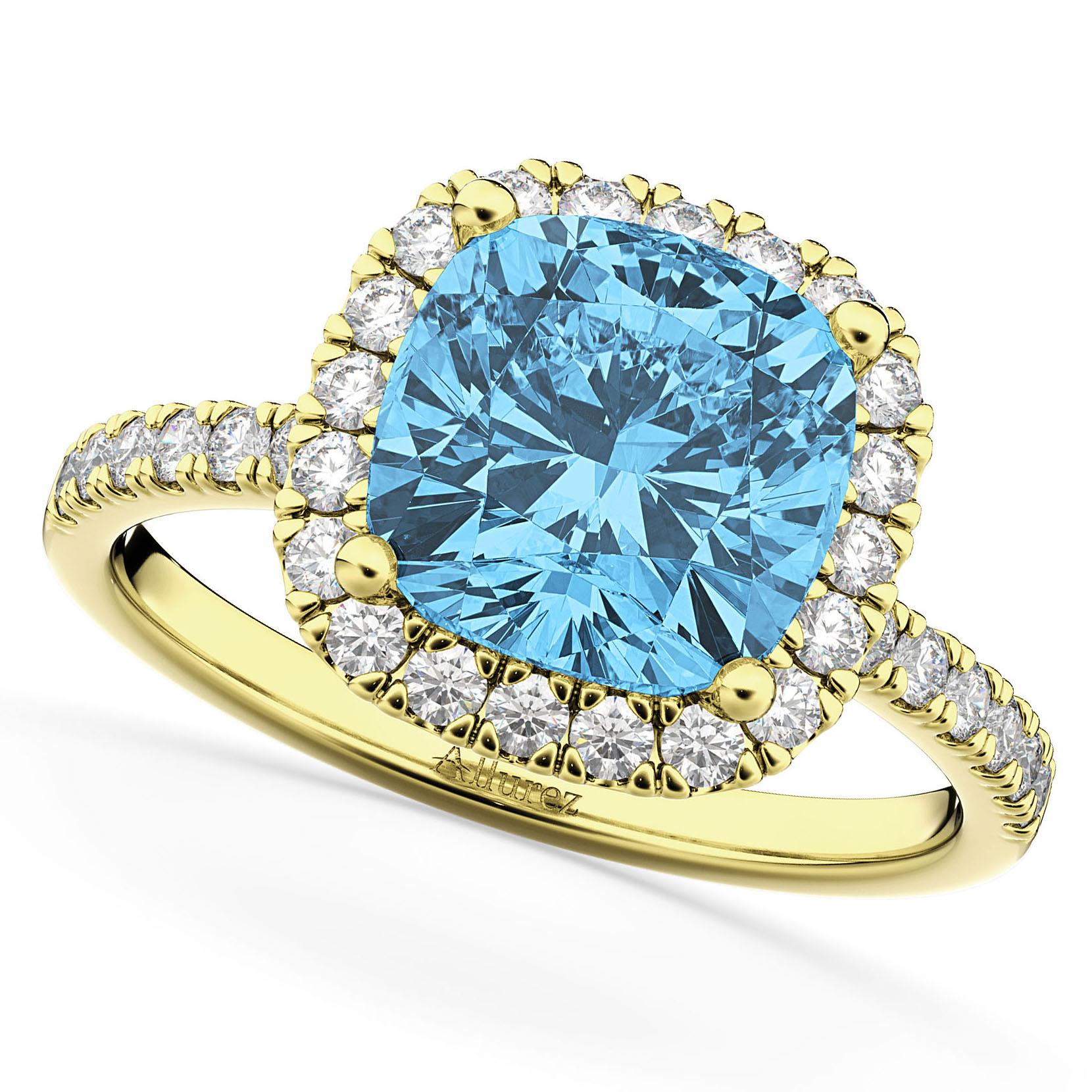 Cushion Cut Halo Blue Topaz & Diamond Engagement Ring 14k Yellow Gold (3.11ct)