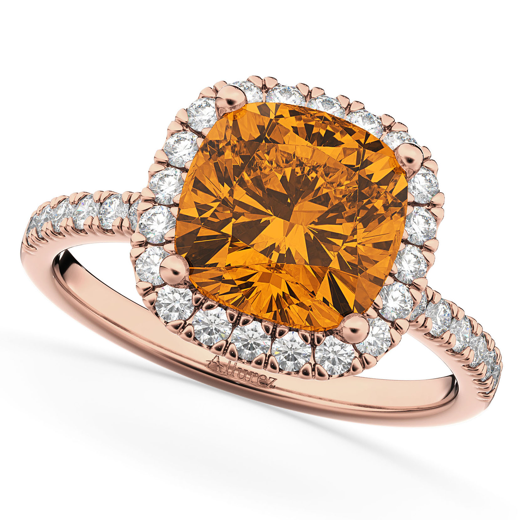 Cushion Cut Halo Citrine & Diamond Engagement Ring 14k Rose Gold (3.11ct)