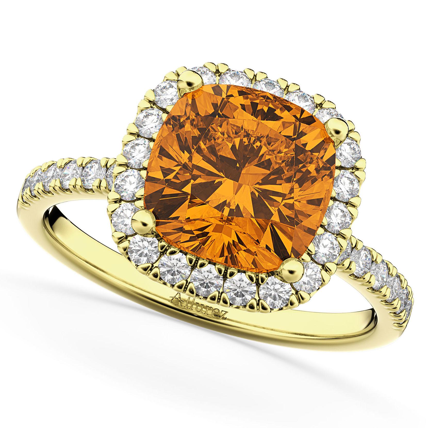 Cushion Cut Halo Citrine & Diamond Engagement Ring 14k Yellow Gold (3.11ct)