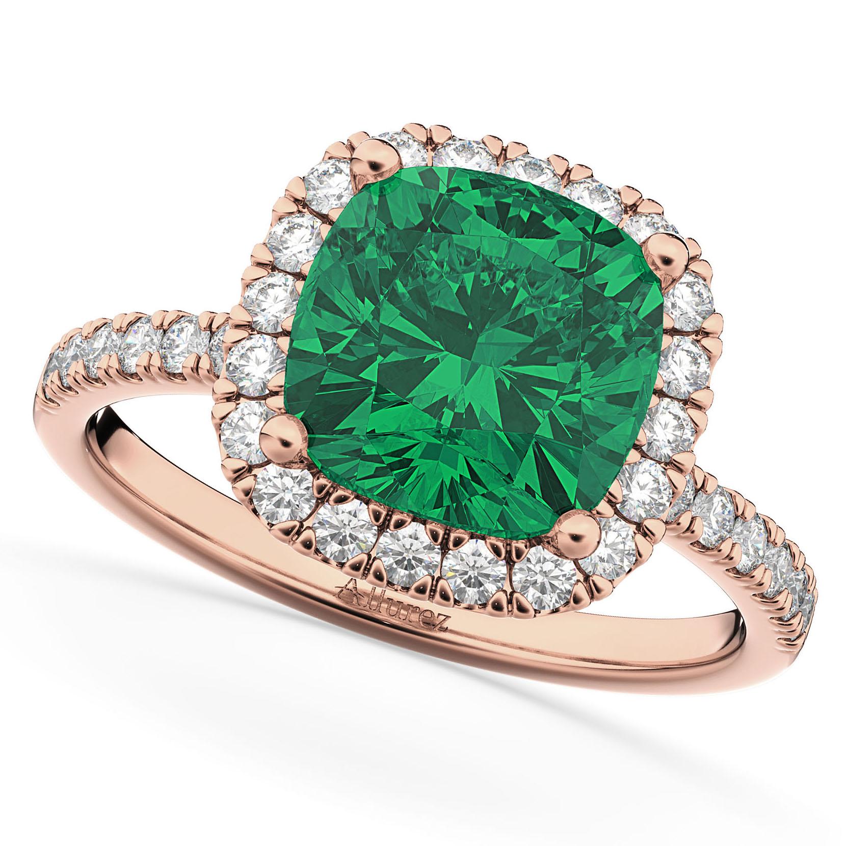 Emerald Cut Halo Diamond Engagement Rings: Cushion Cut Halo Emerald & Diamond Engagement Ring 14k