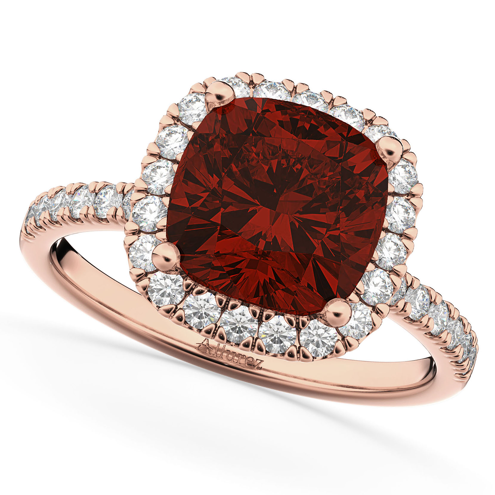 Garnet And Black Diamond Engagement Rings