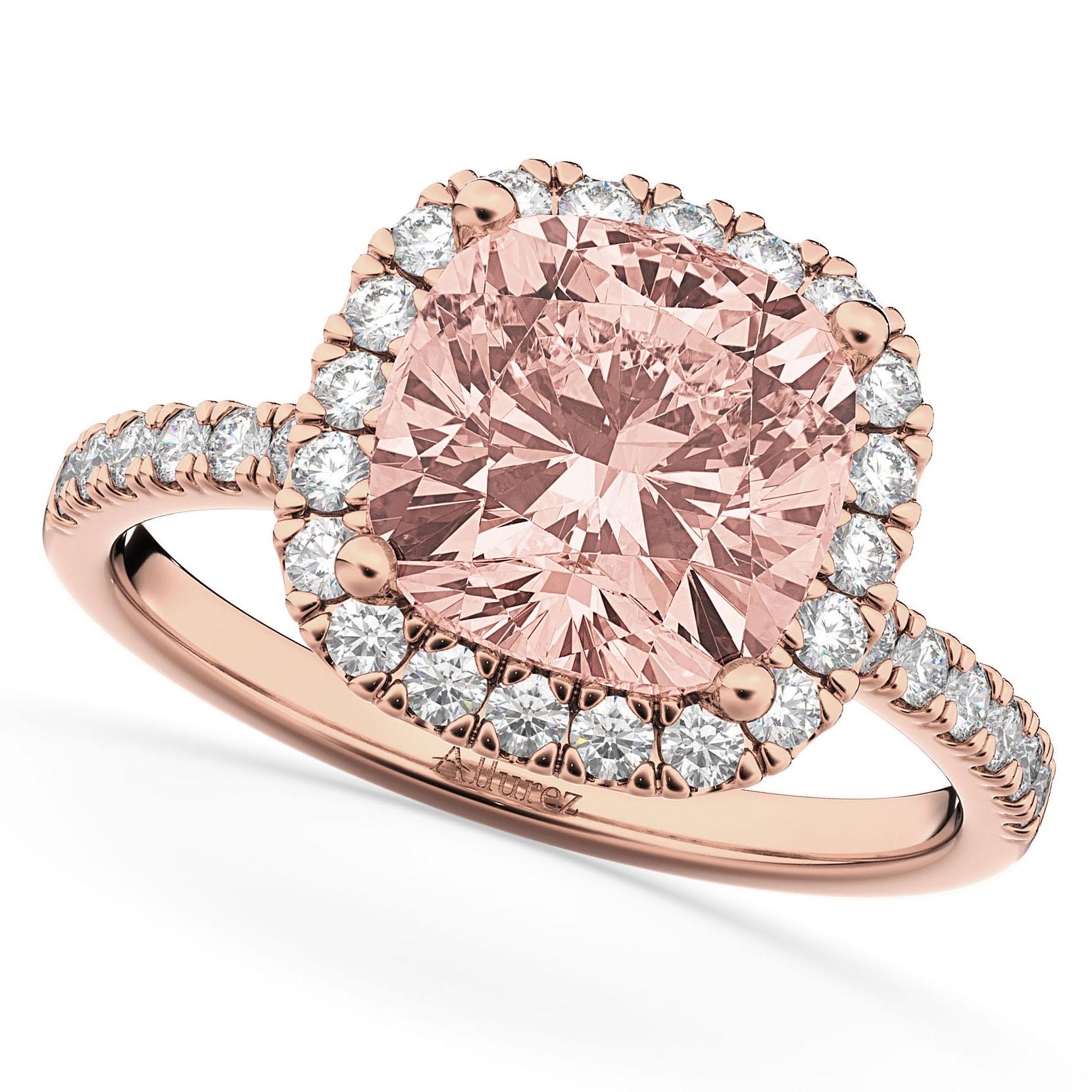 Cushion Cut Halo Morganite & Diamond Engagement Ring 14k Rose Gold (3.11ct)