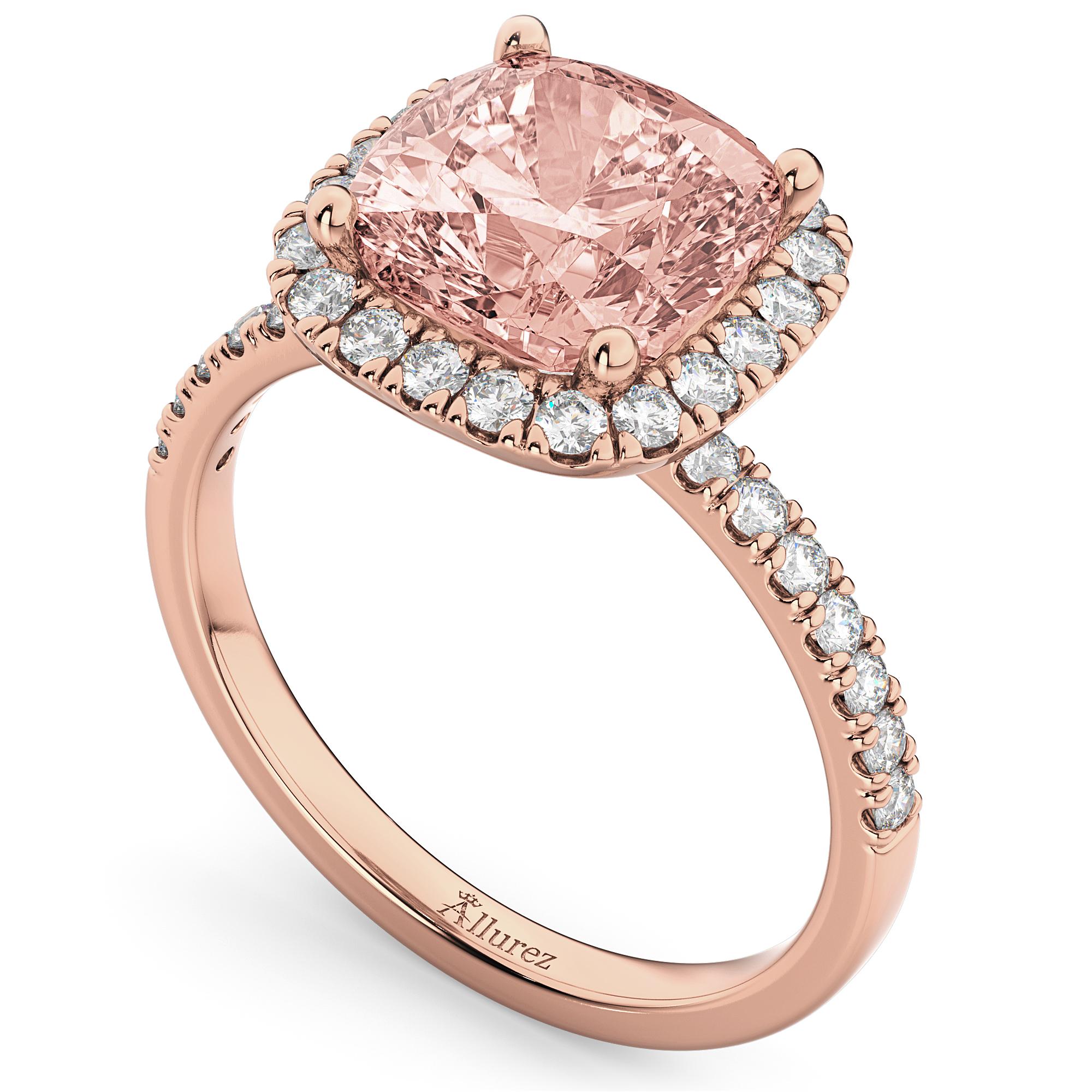 Cushion Cut Halo Morganite & Diamond Engagement Ring 14k Rose Gold 3 11ct