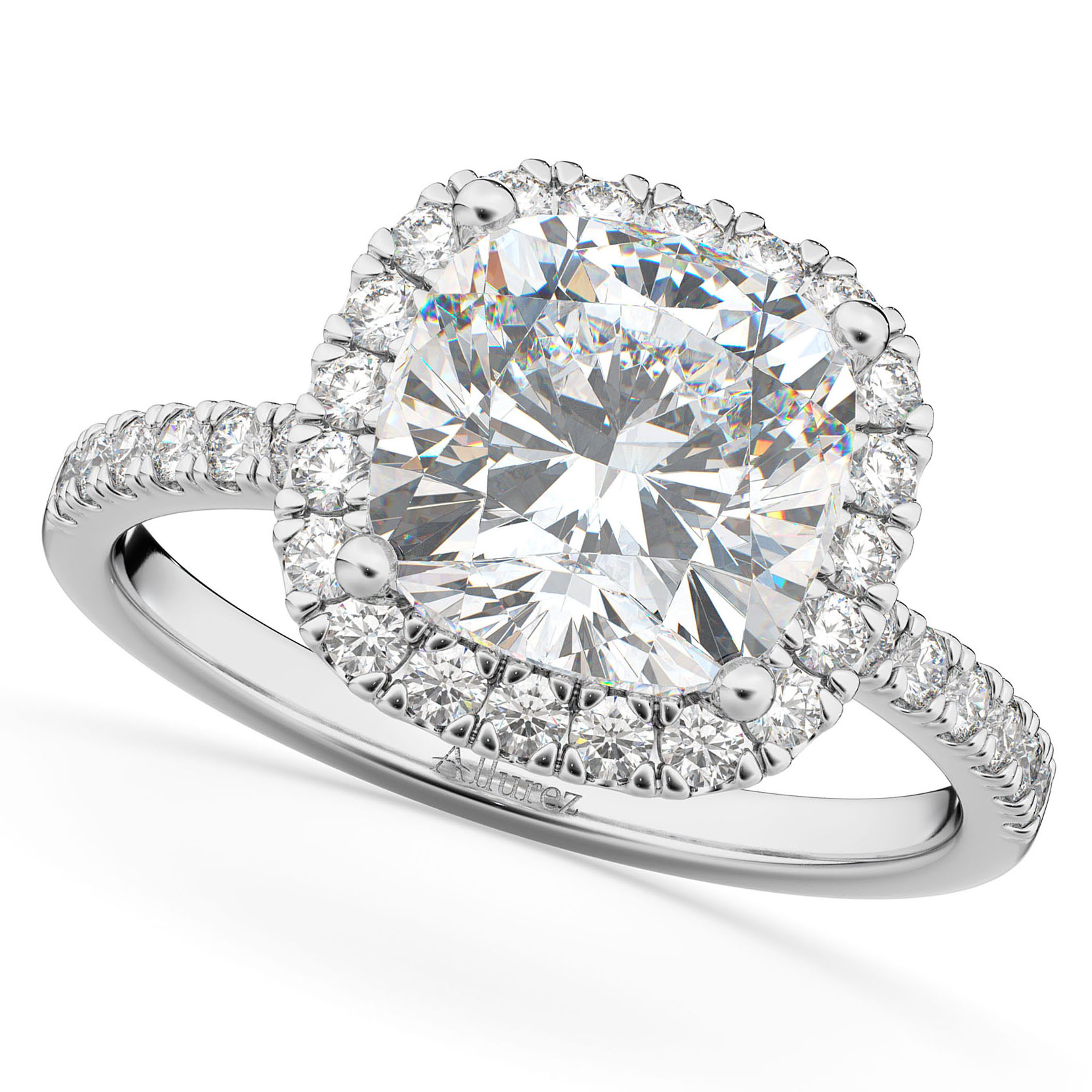 Cushion Cut Halo Moissanite & Diamond Engagement Ring 14k White Gold (2.66ct)
