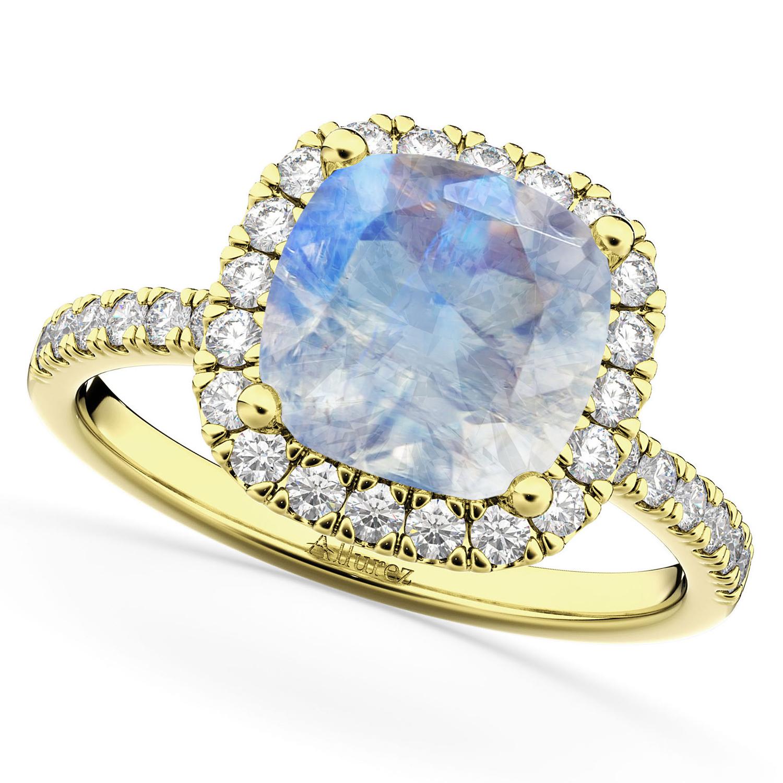 Cushion Cut Halo Moonstone & Diamond Engagement Ring 14k Yellow Gold (3.11ct)