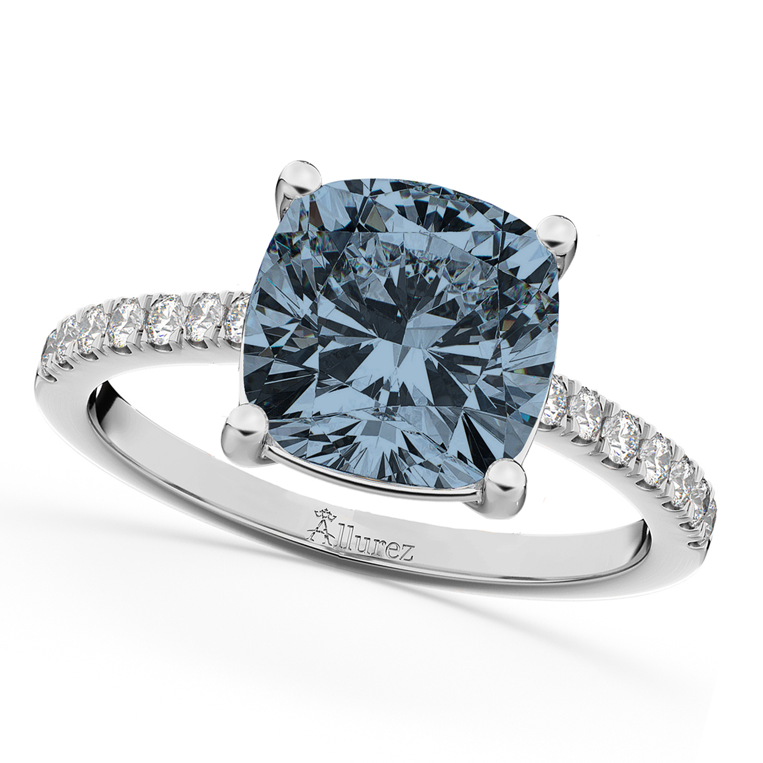 Cushion Cut Gray Spinel & Diamond Engagement Ring 14k White Gold (2.81ct)