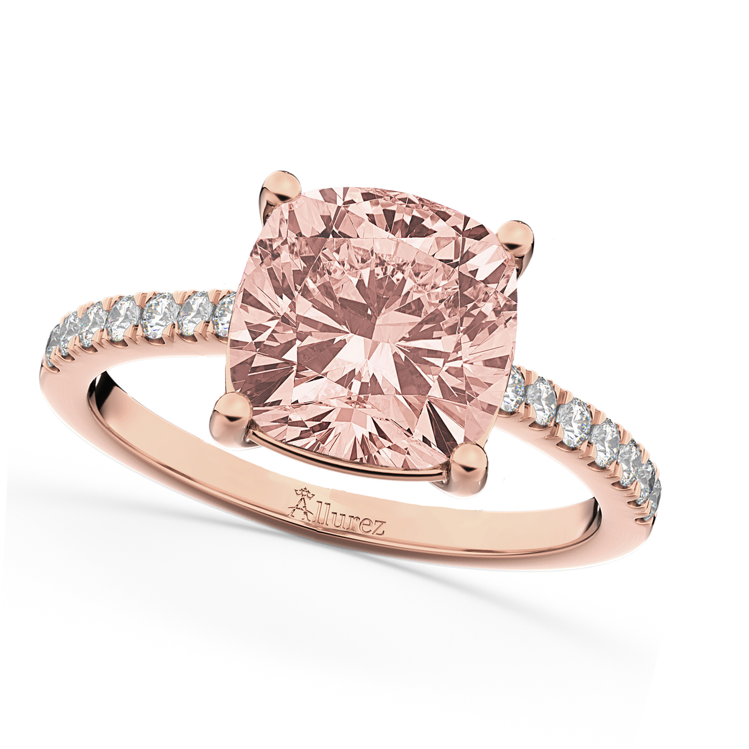 Cushion Cut Morganite & Diamond Engagement Ring 14k Rose Gold 2.81ct ...