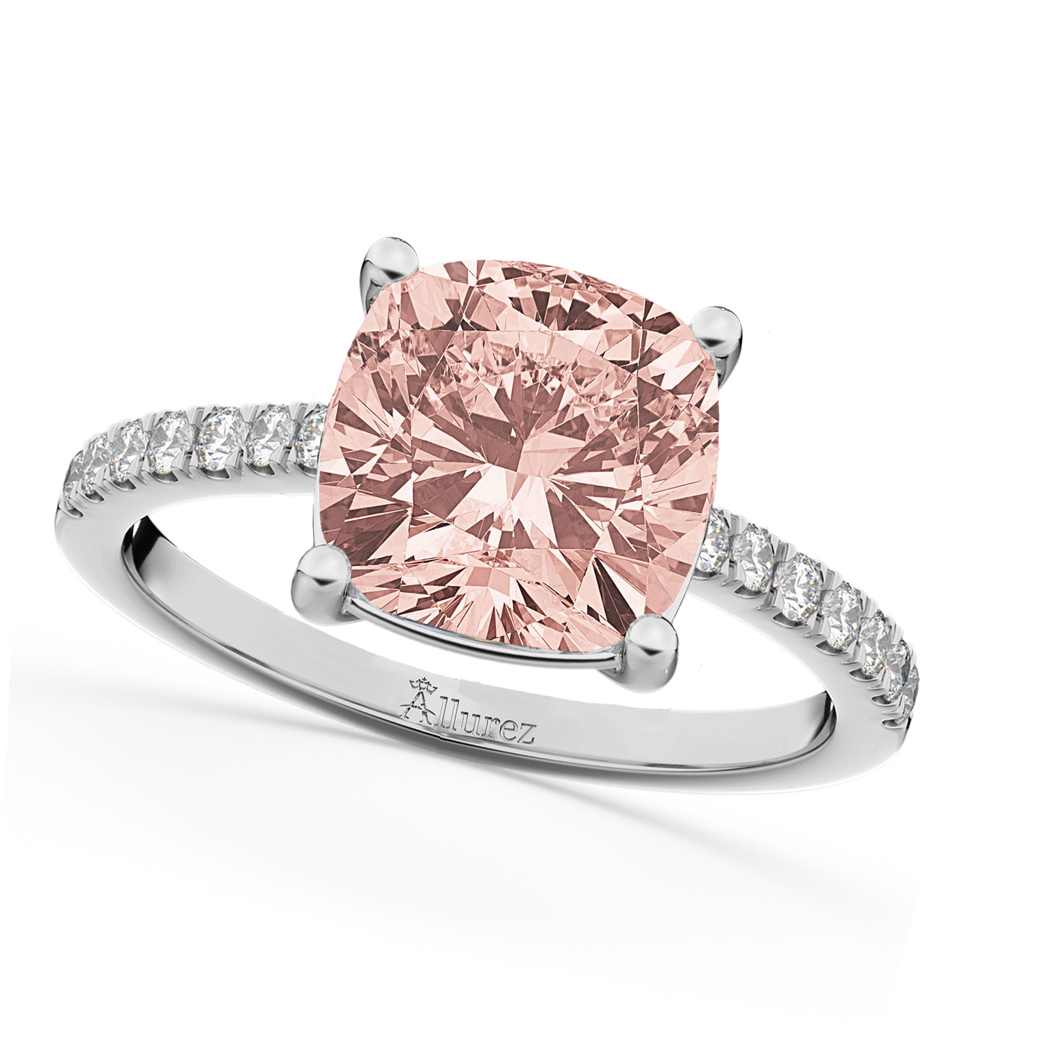Cushion Cut Morganite & Diamond Engagement Ring 14k White Gold 2.81ct