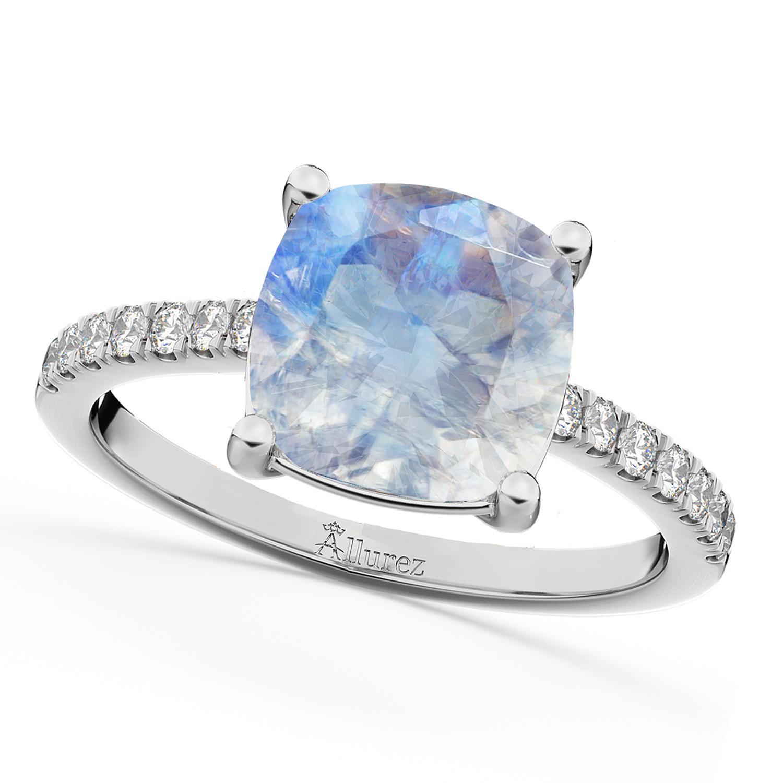Cushion Cut Moonstone & Diamond Engagement Ring 14k White Gold (2.81ct)