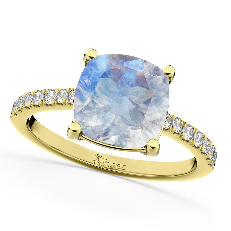 Cushion Cut Moonstone & Diamond Engagement Ring 14k Yellow Gold (2.81ct)