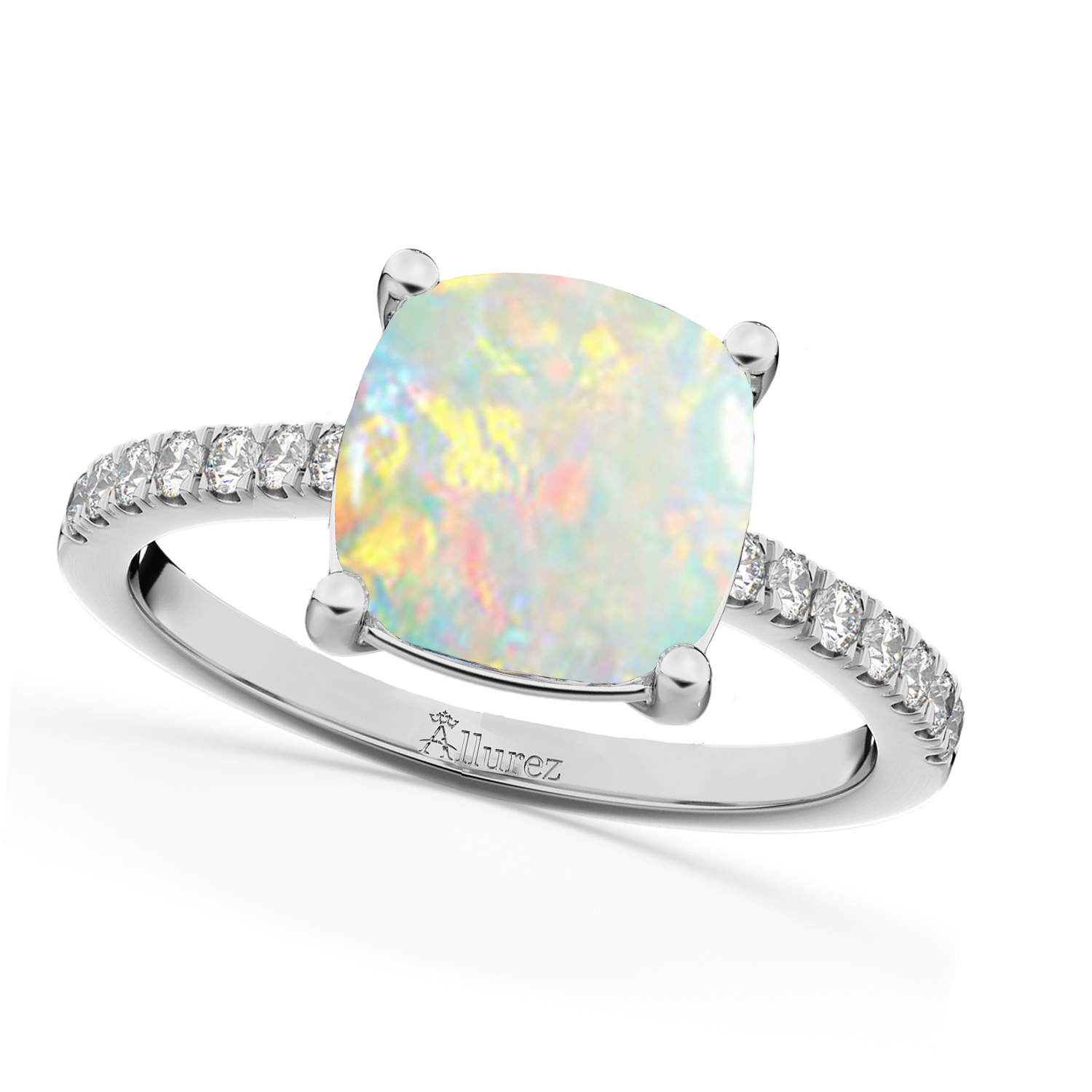 Cushion Cut Opal & Diamond Engagement Ring 14k White Gold (2.81ct)