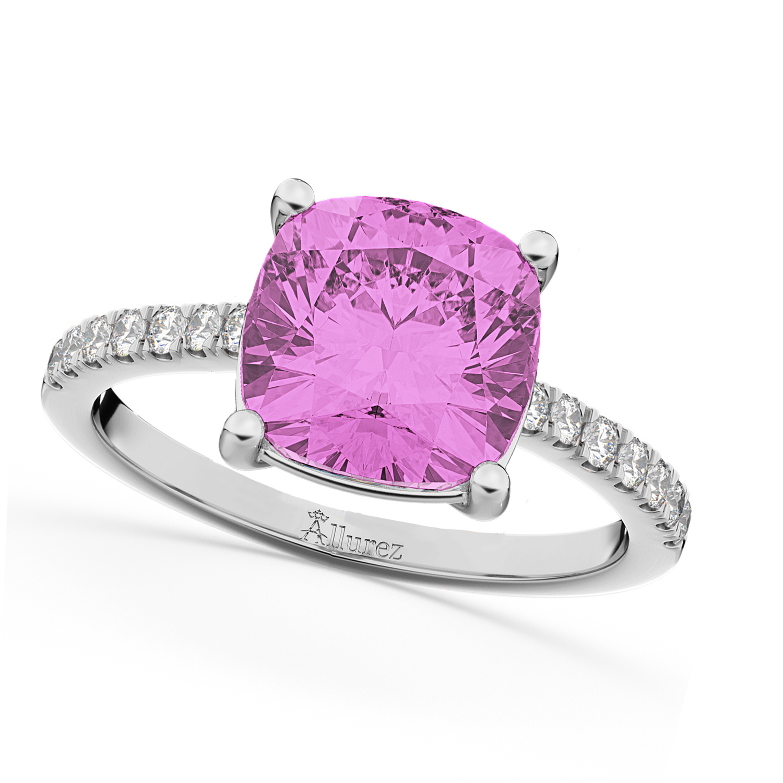 Cushion Cut Pink Sapphire & Diamond Engagement Ring 14k White Gold ...